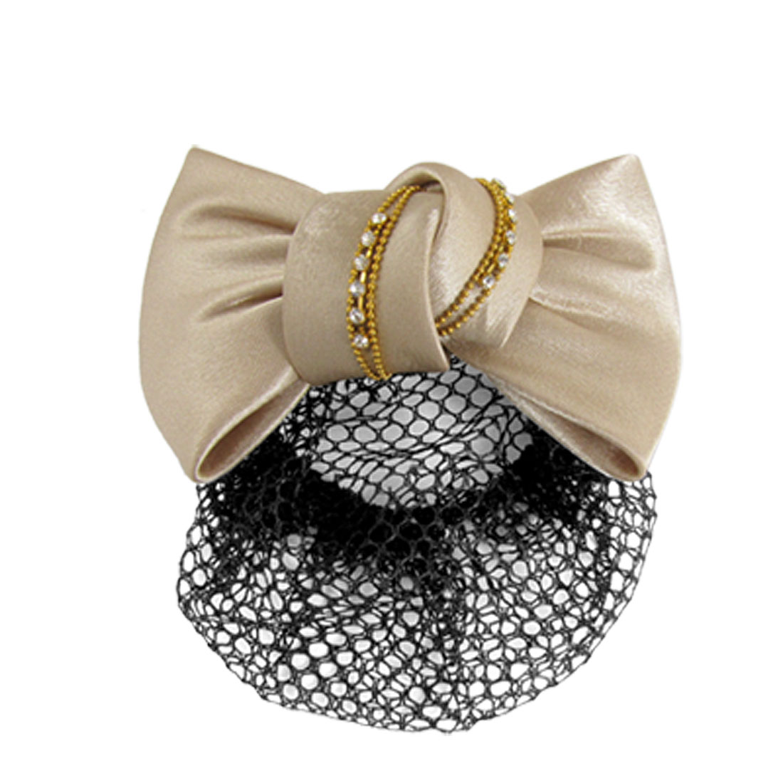 Crystal Inlaid Apricot Bowknot Decor Metal Hair Clip for Women
