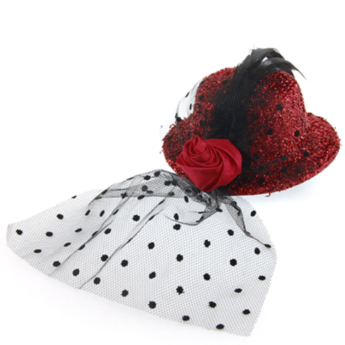 Feather Accent Rose Brim Textured Red Mini Top Fascinators Hat Hair Clip for Women