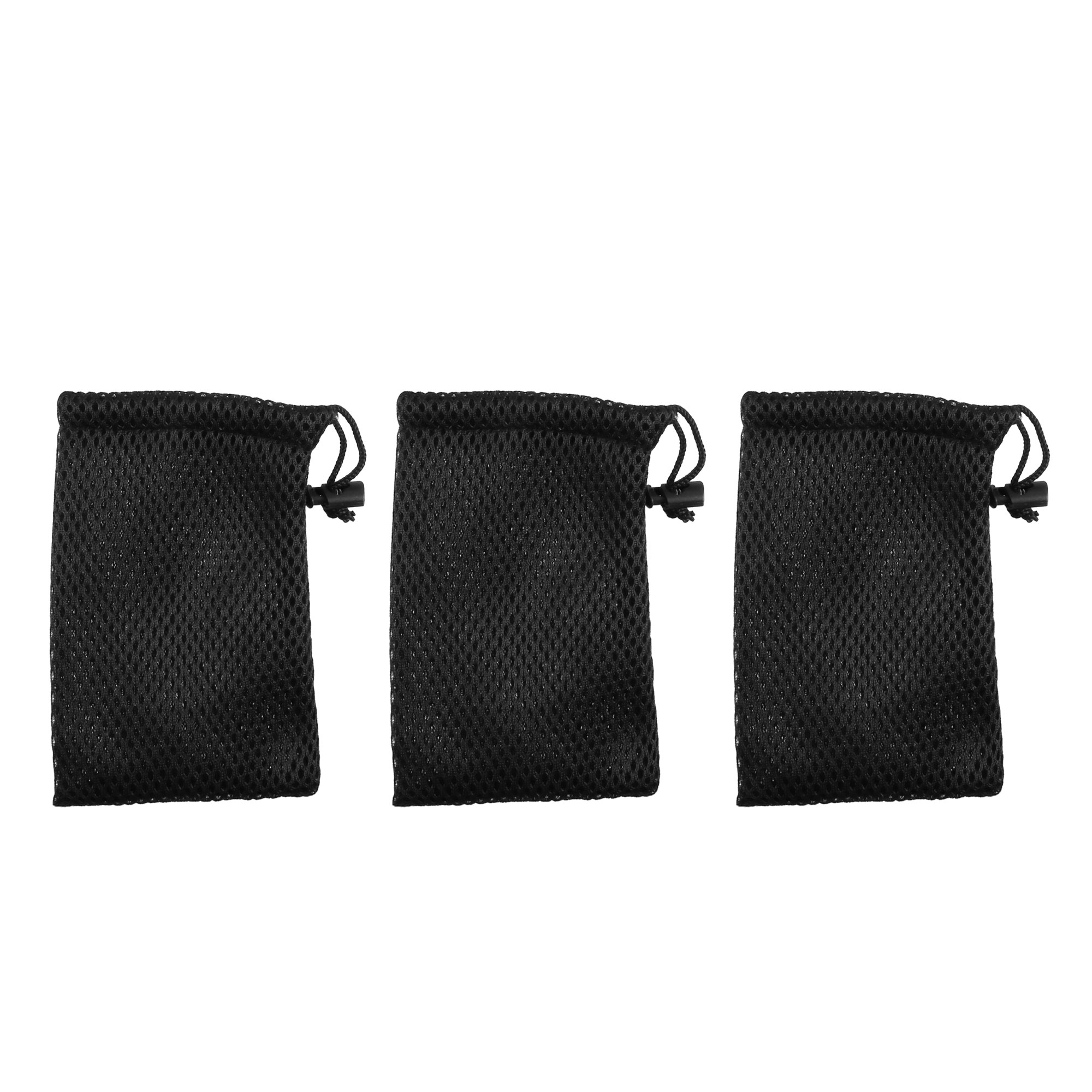 Drawstring Closure Black Cell Phone MP3 Nylon Mesh Pouch Bags 3 Pcs