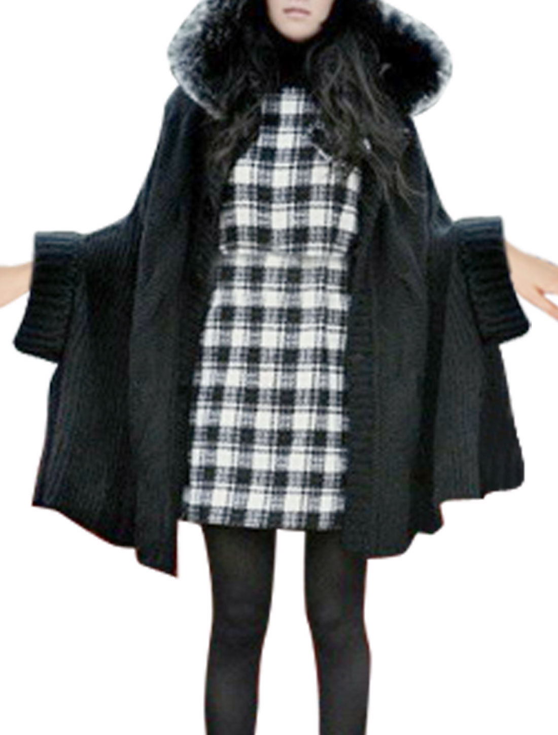 Women Short Dolman Sleeve Black Hooded Tunic Sweater M