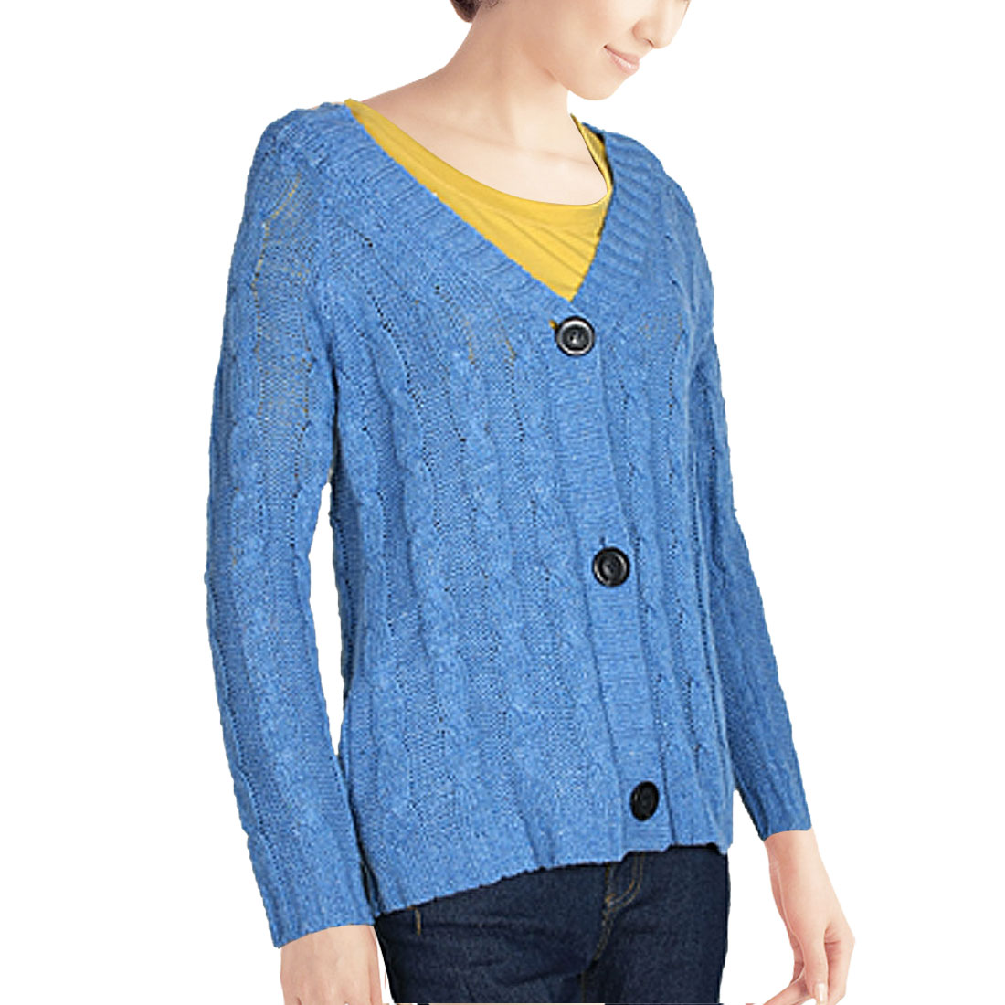 Blue Cable Knitting Braid Pattern Sweater Coat Cardigan for Woman S
