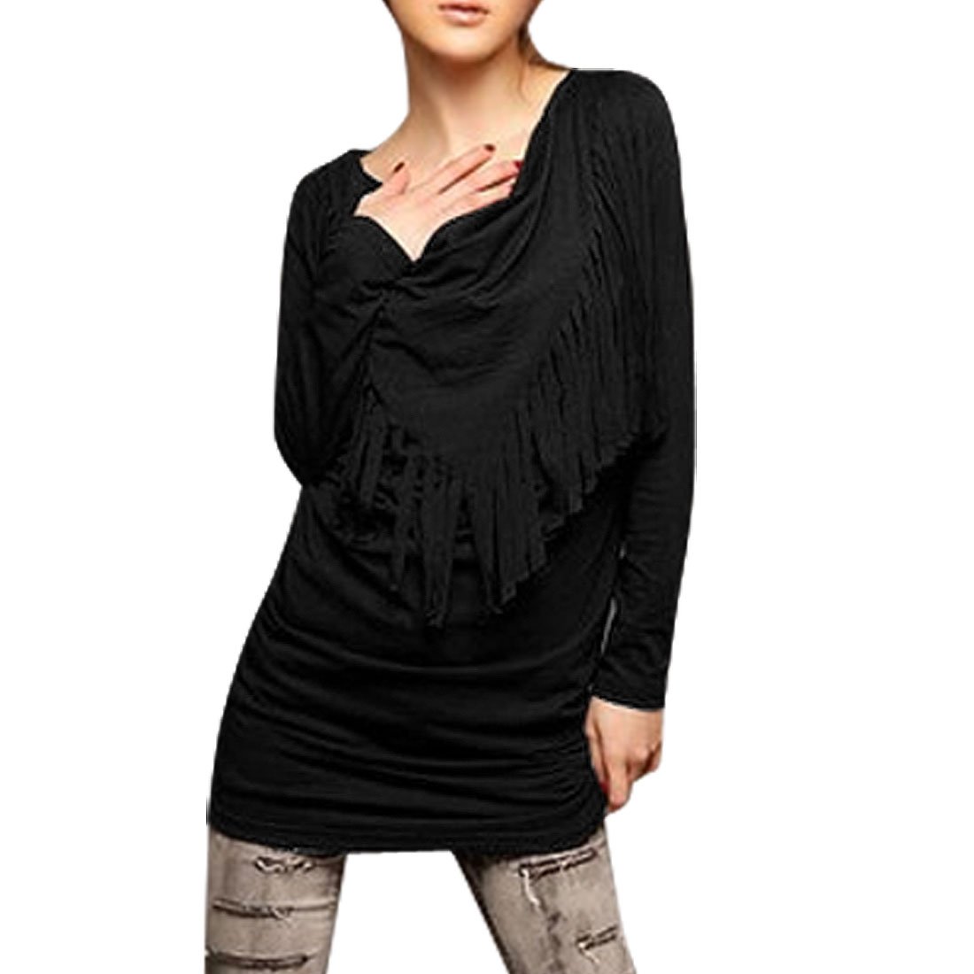 Woman Tassel Triangle Flap Front Cowl Neck Long Sleeve Shirt Black XS
