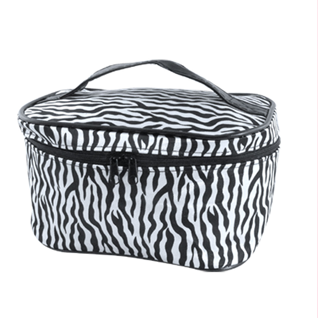 Women White Black Zebra Print Zip Up Cosmetic Bag Pouch