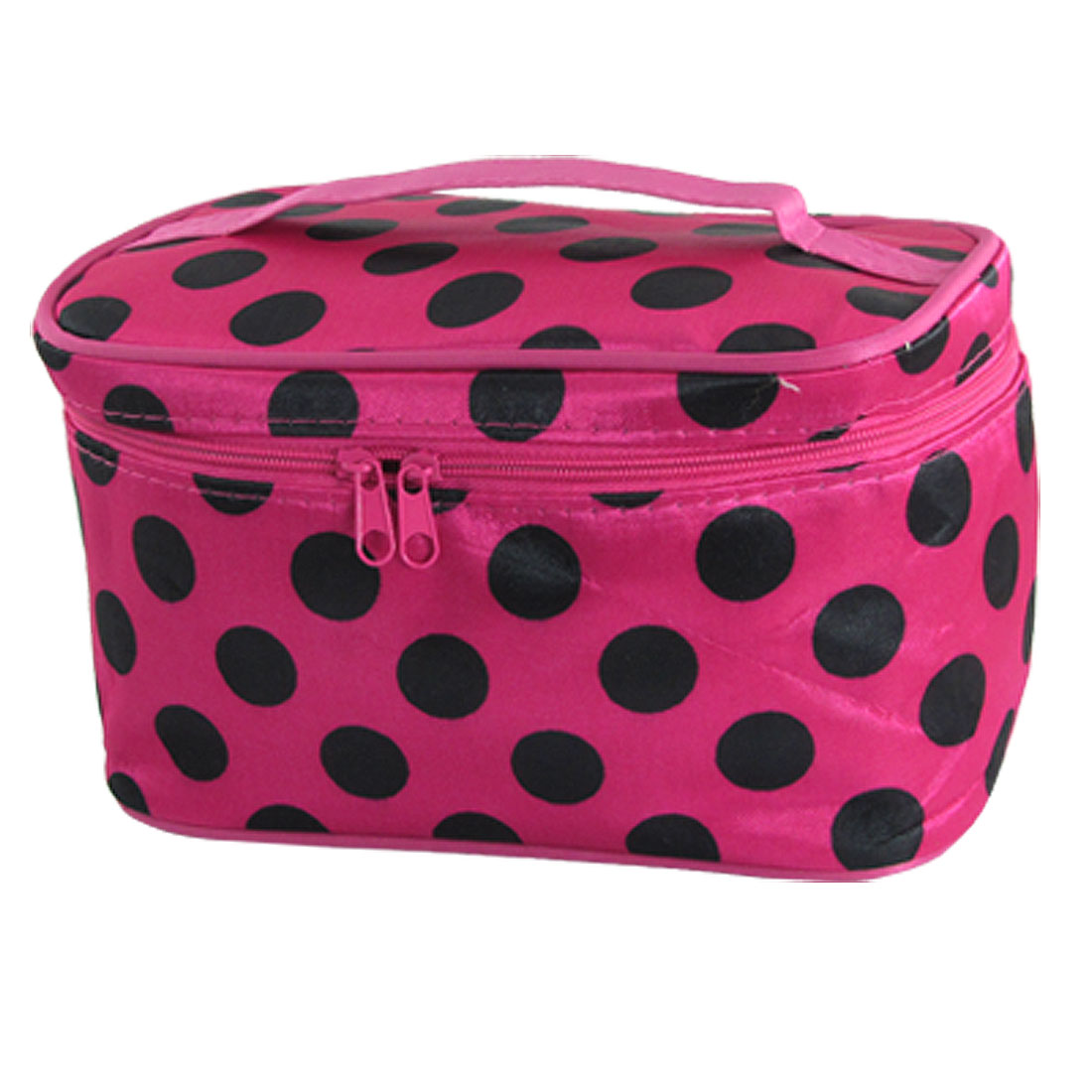 Women Black Dots Pattern Fuchsia Foldable Cosmetic Make Up Hand Case Bag