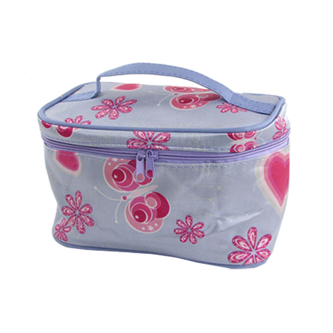 Women Light Purple Zippered Butterfly Print Cosmetic Bag w Mirror