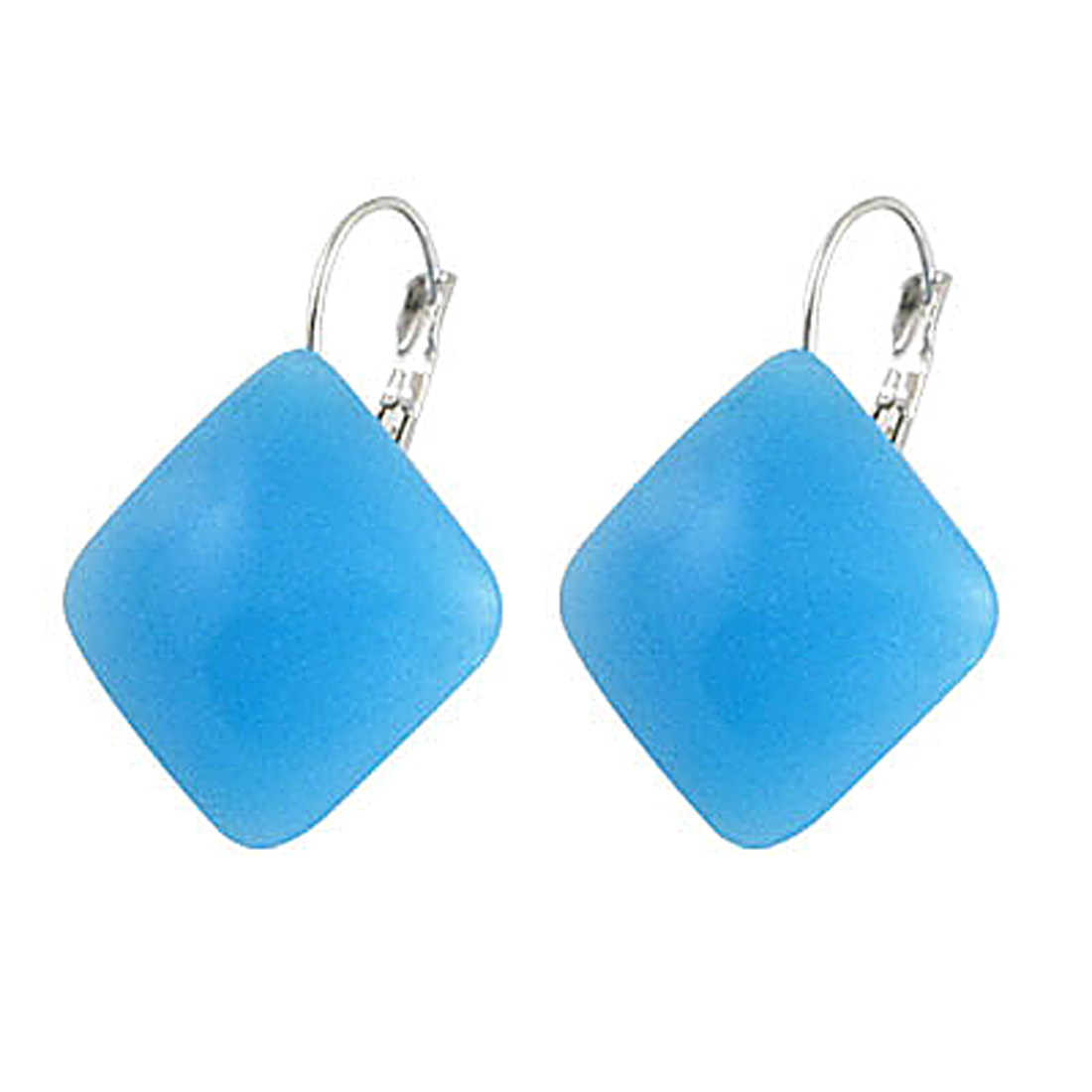 Sky Blue Square Plastic Decor Clip Earrings for Lady