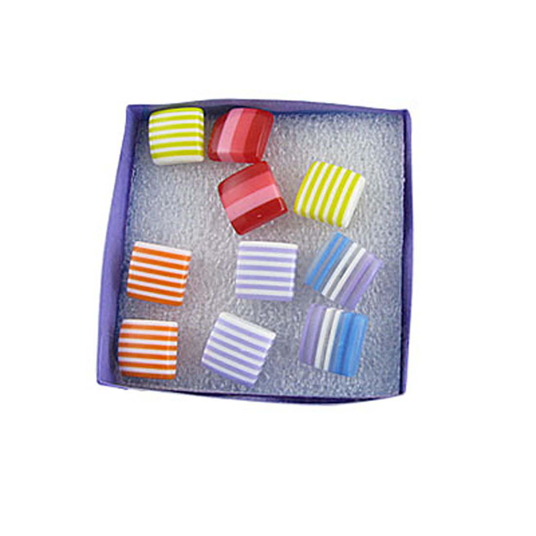 """5 Pairs 1/2"""" Square Striped Stud Screw Back Earrings for Women"""