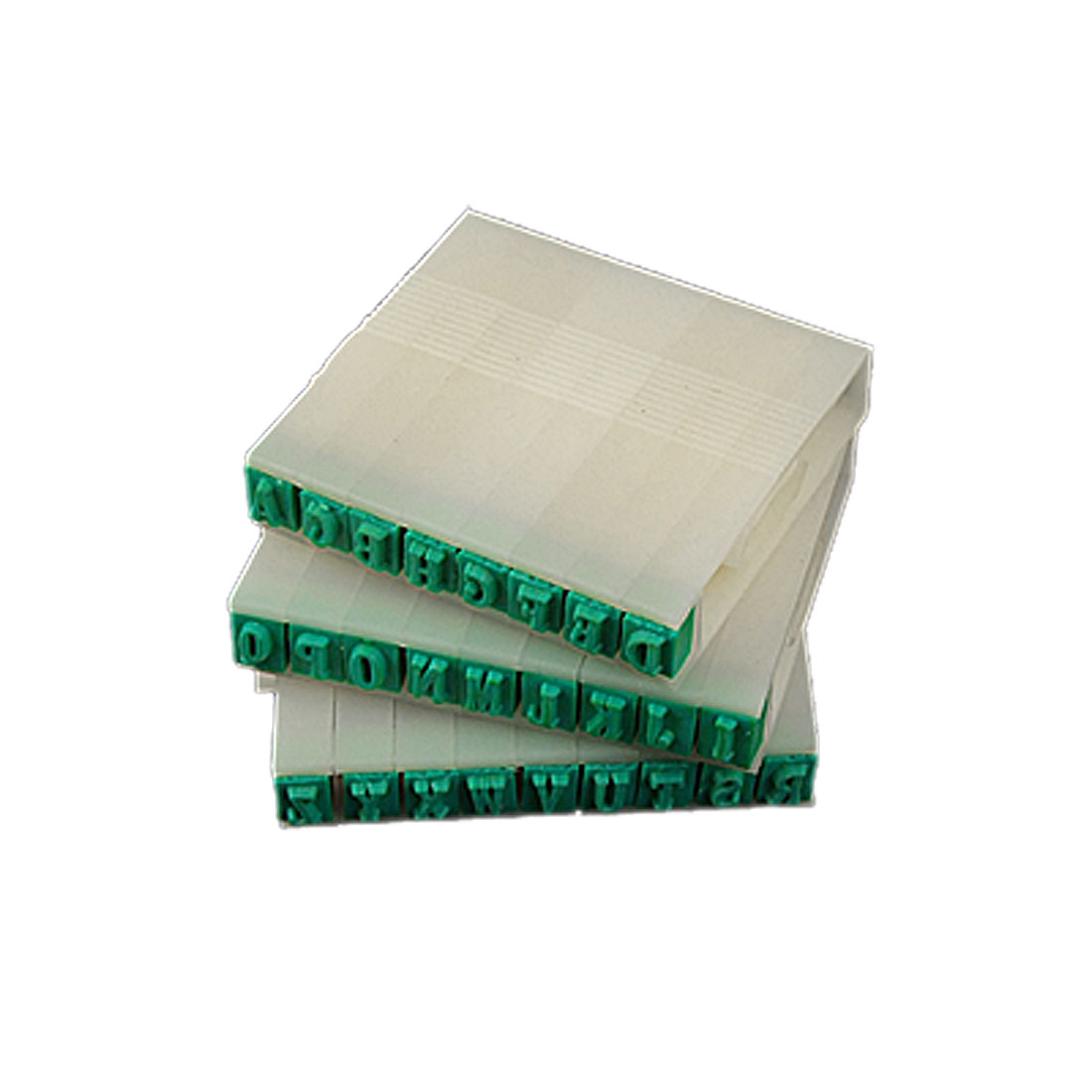 Plastic Handle 26 English Alphabet Combination Stamp Set Beige Green