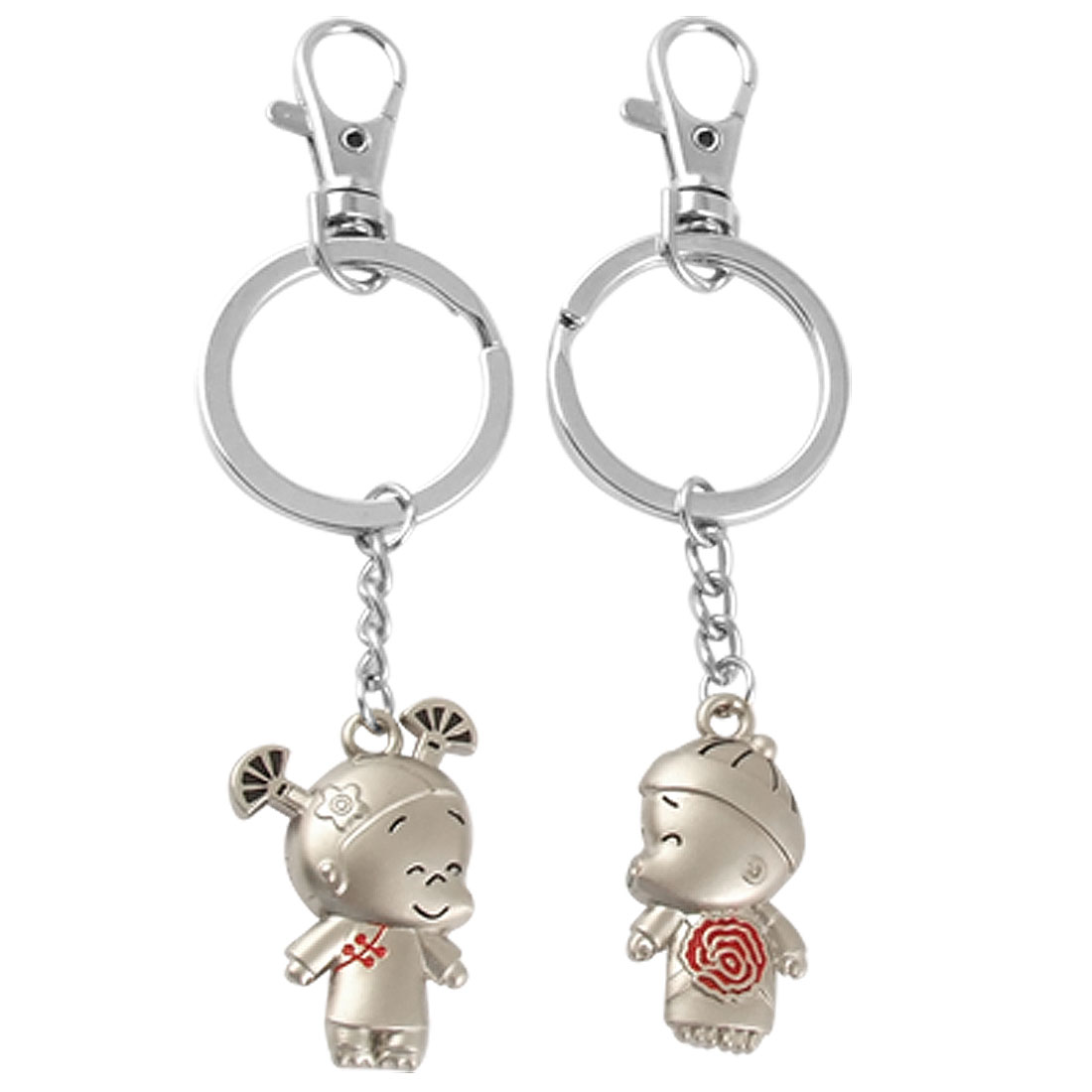Pair Boy Kissing Girl Dangling Pendant Keyring Key Chain Ornament for Lovers