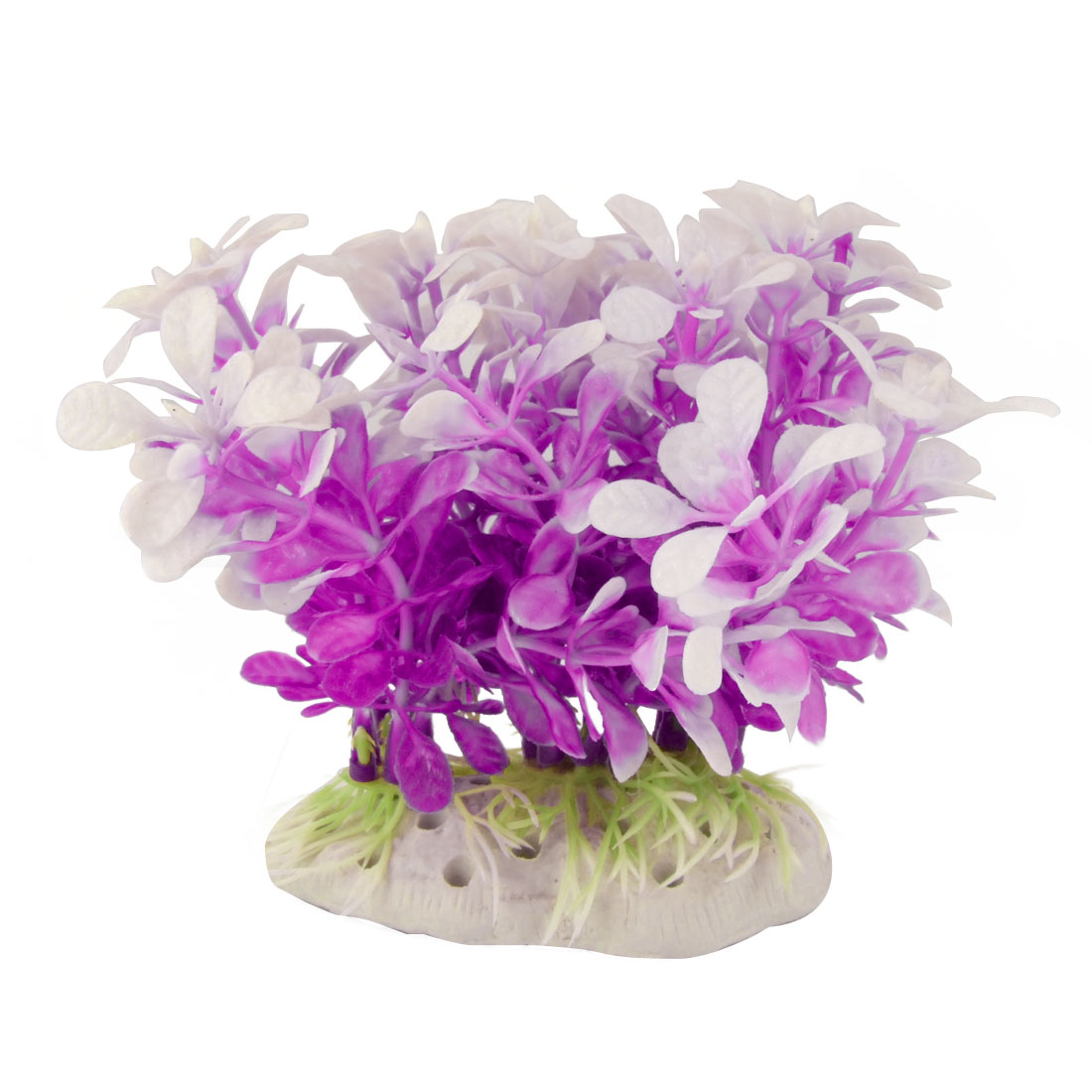 Purple White Plastic Grasses Plant for Fish Tank Aquarium