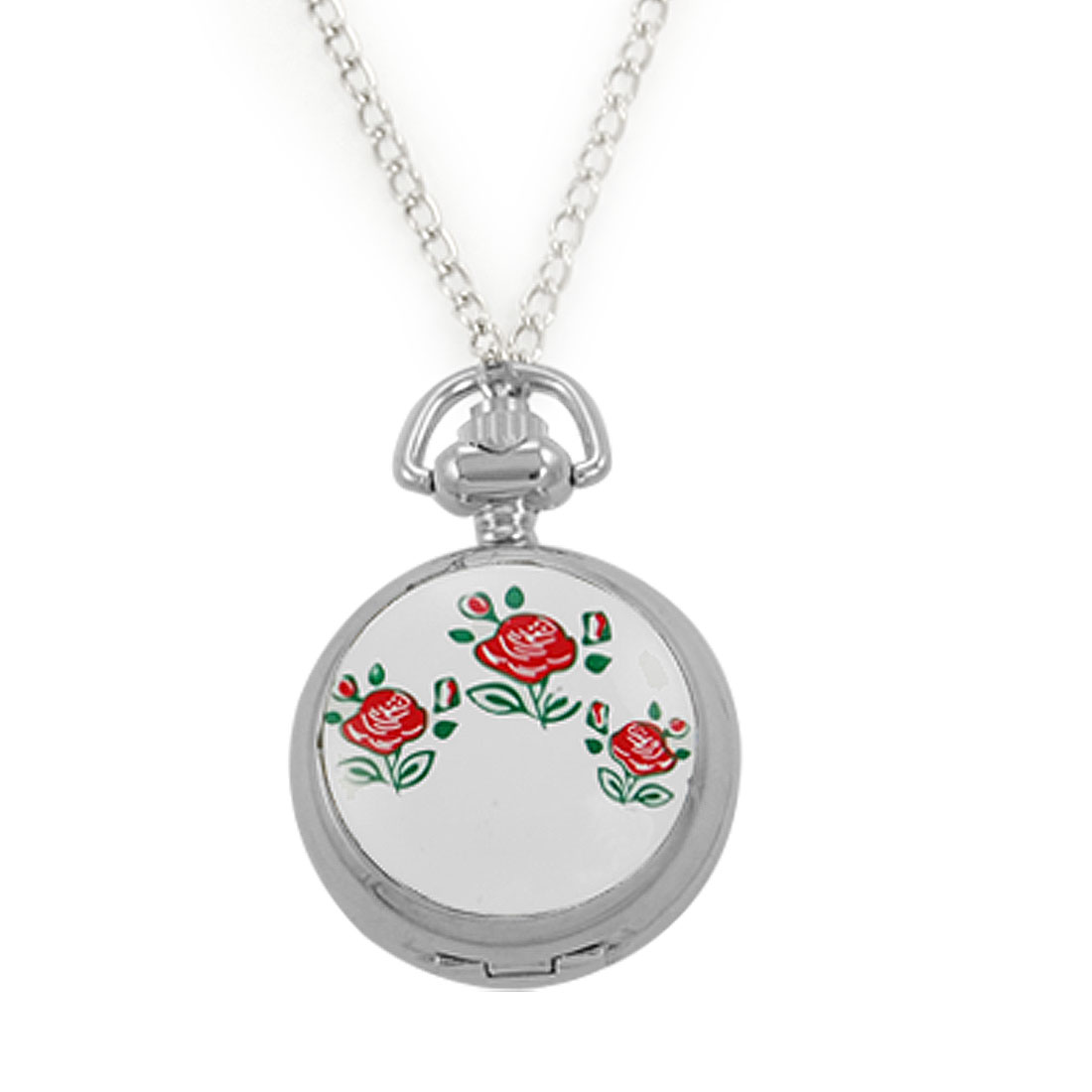 Red Flowers Green Leaves Pattern Cover Pocket Watch Necklace