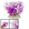 Purple White Plastic Grasses Plant for Fish Tank Aquarium