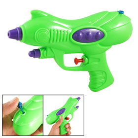 Children Green Plastic Water Pistol Spray Gun Fight Game Play Toy