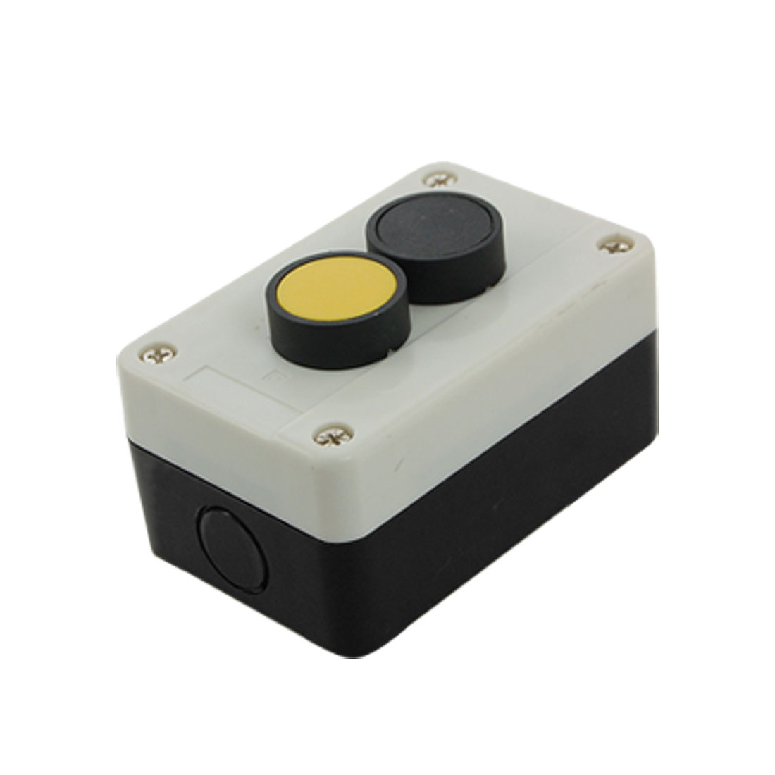 Normally Open Black Yellow Flat Cap Momentary Switch Push Button Station