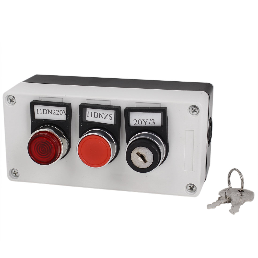 3 in 1 Key Locking Red Indicator Light Push Button Switch Station