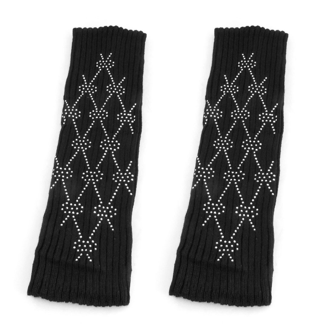 Women Rhinestone Rhombus Pattern Black Knitted Knee High Leg Warmers Pair