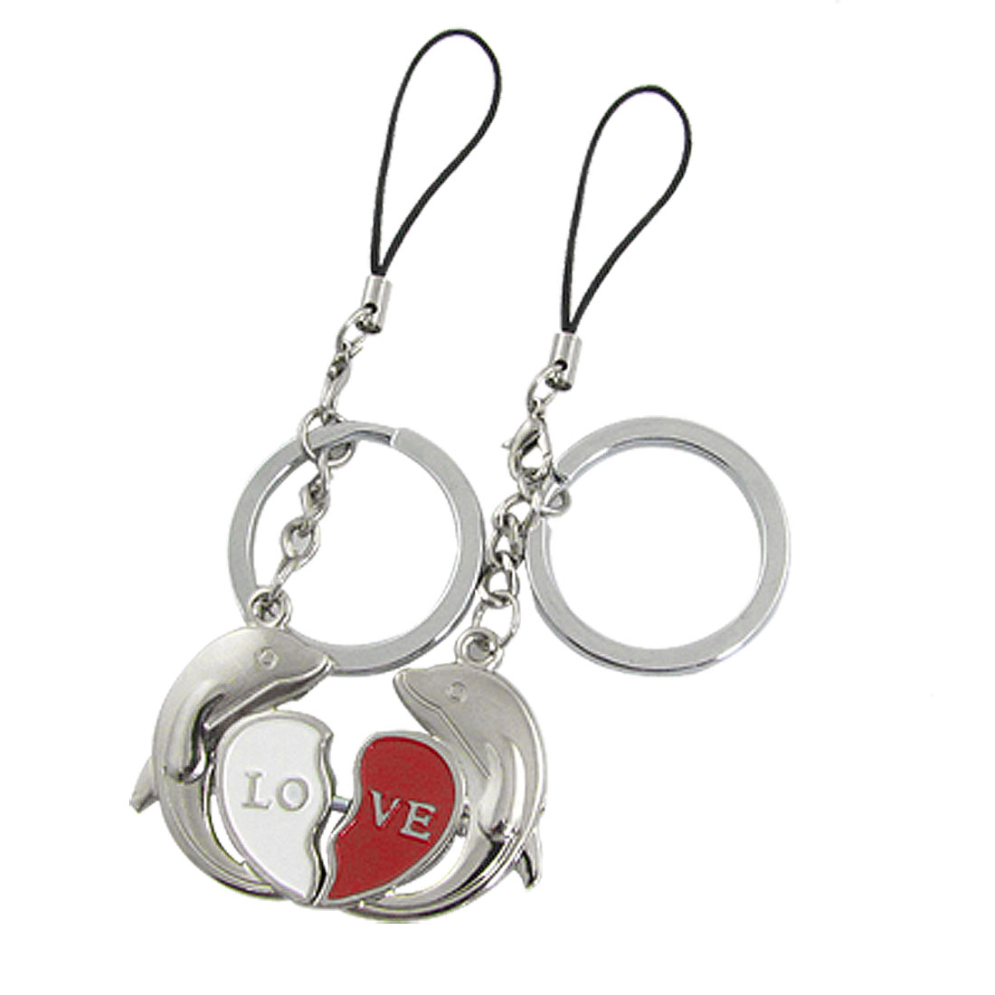 Lovers Pair Magnetic Dolphin Shape Pendant Keyring Chain w Strap