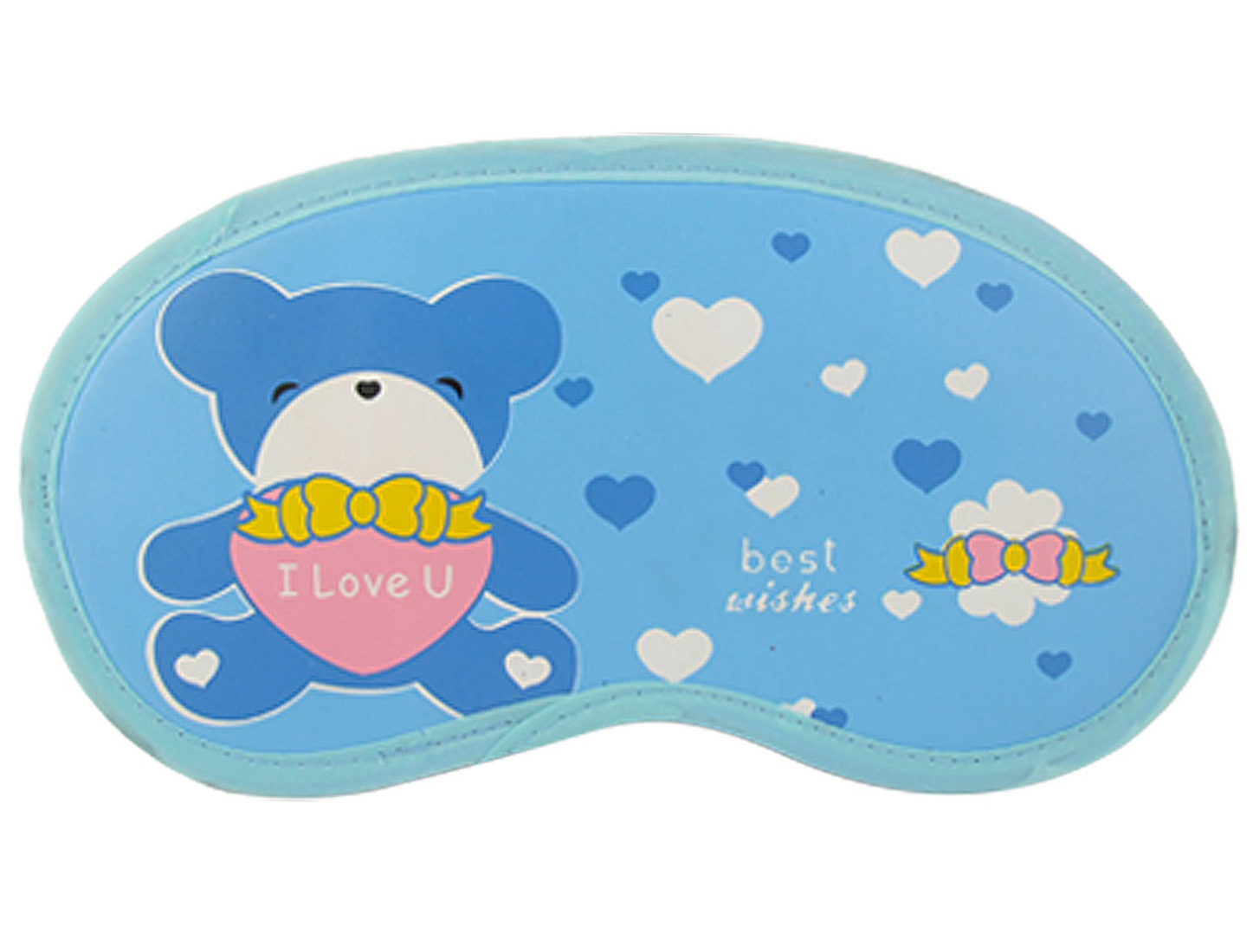 Cartoon Bear Print Blue Eye Patch Soft Travel Sleep Mask Shade