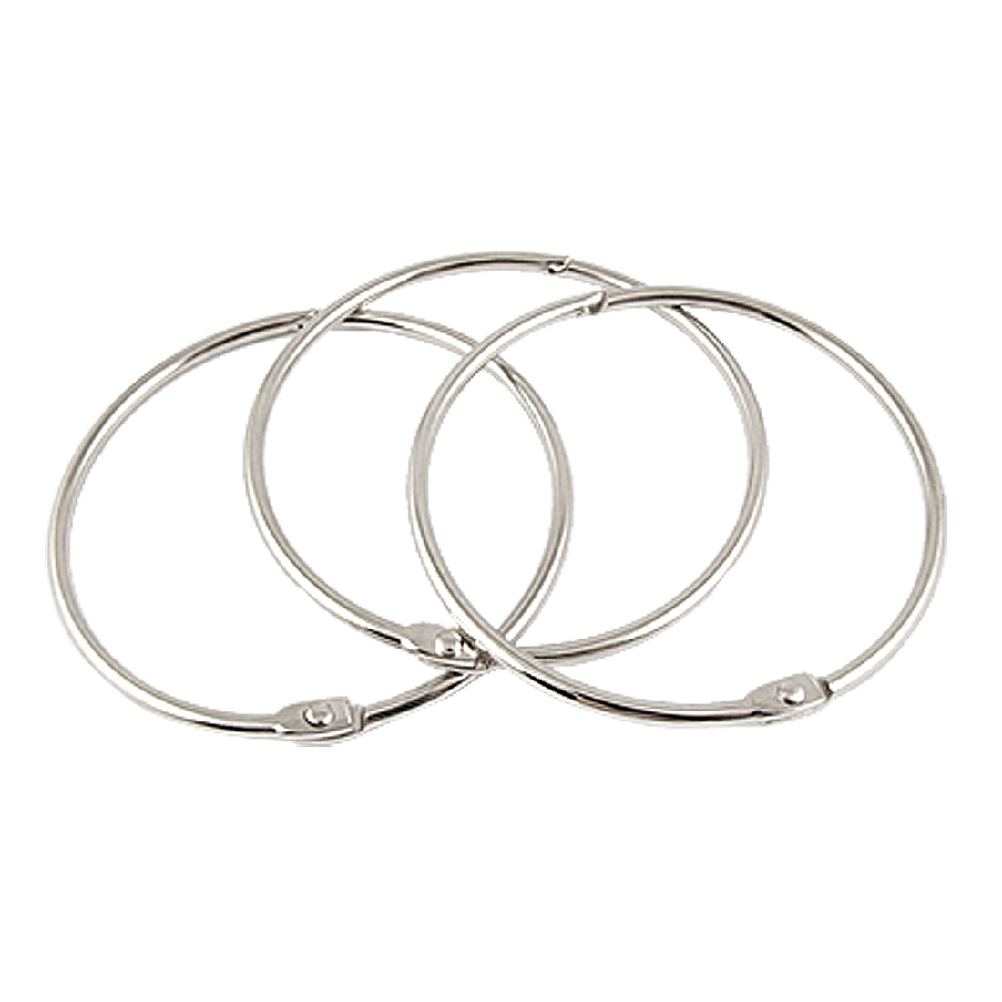 "3 Pcs 2.7"" Diameter Silver Tone Metal Split Style Bracelet Keyrings"