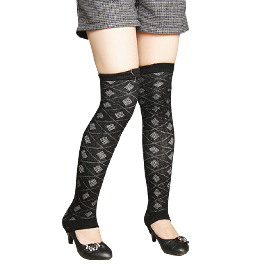Women Pair Rhombus Pattern Knit Crochet Knee High Leg Warmers Black
