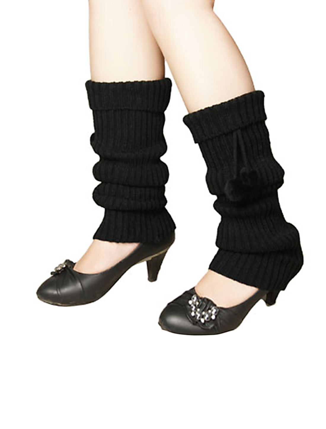 Women Pom Pom Accent Stretchy Knit Leg Warmers Black