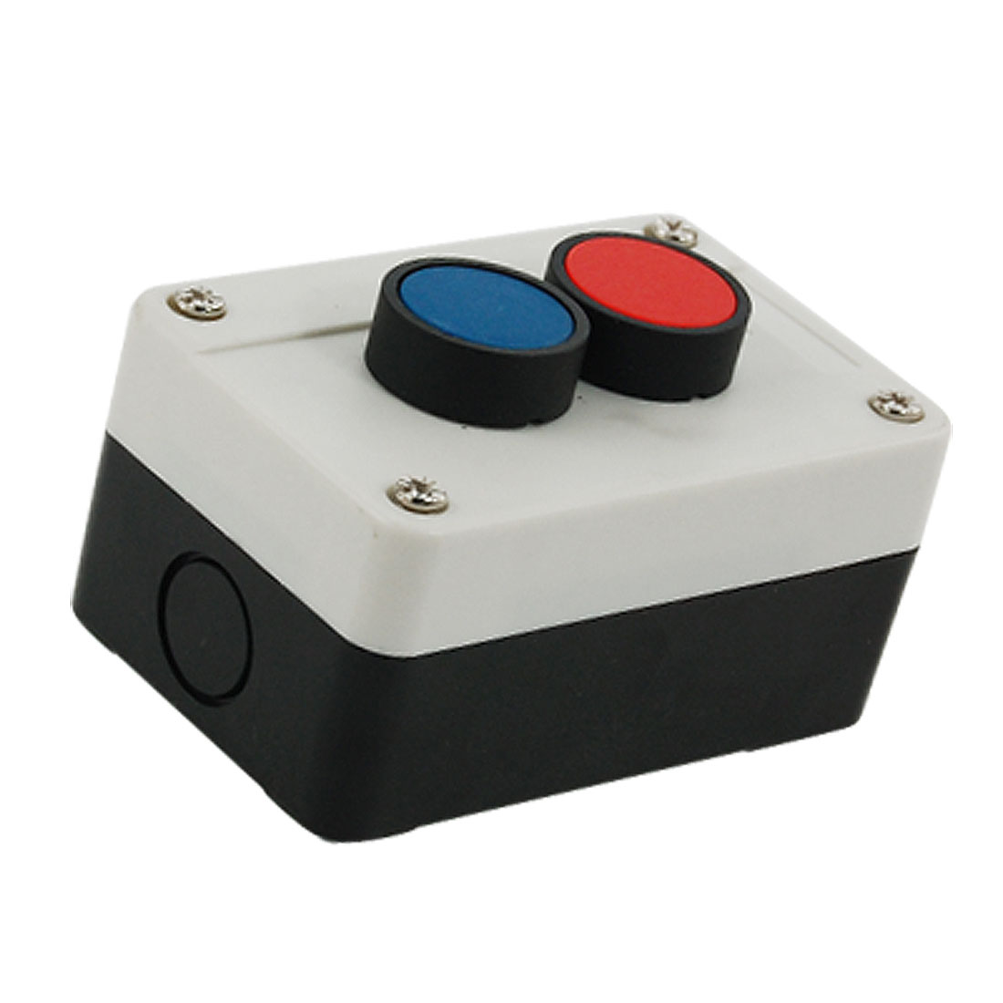 400V 10A Momentary Switch Red Blue Flat Round Cap Push Button Station