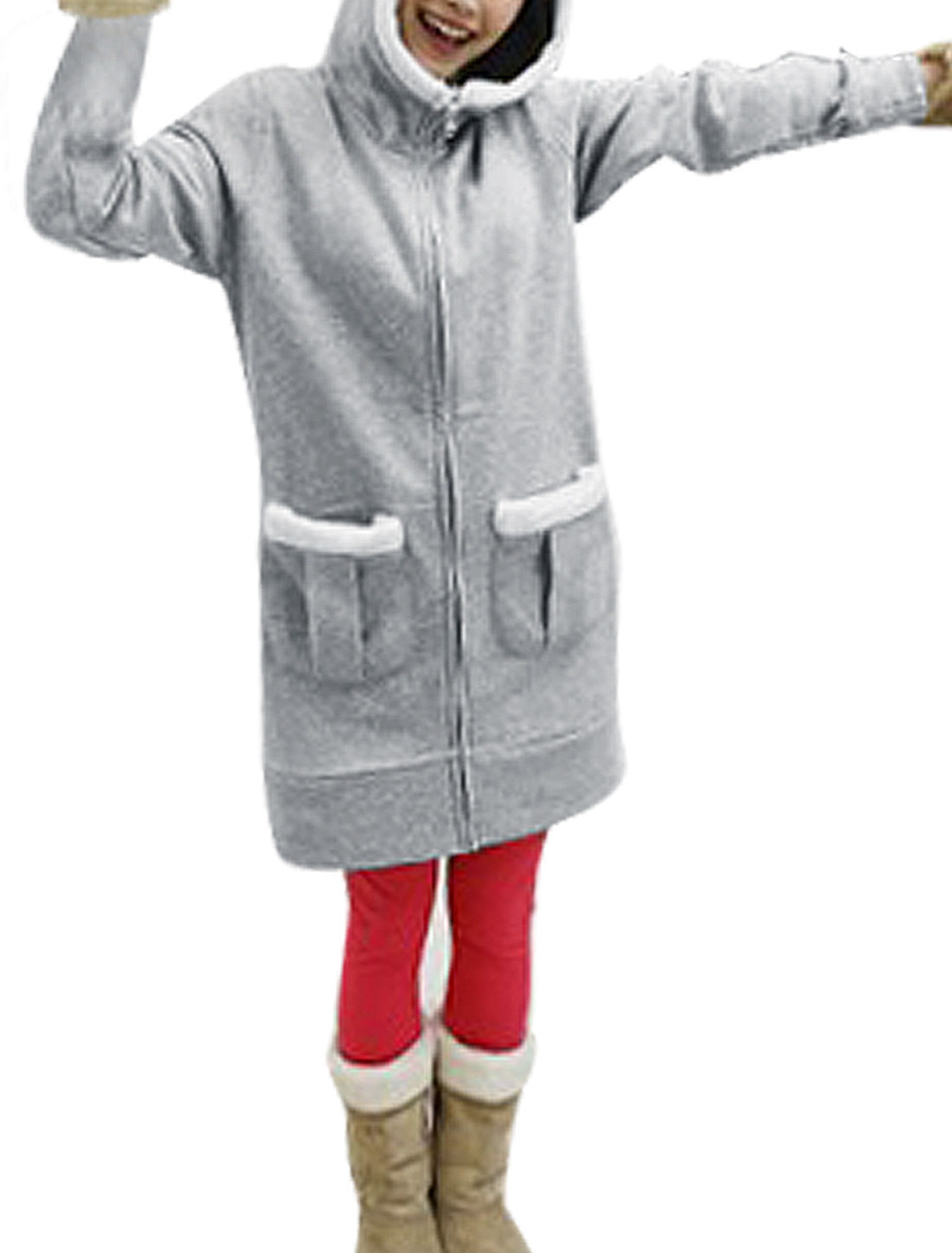White Plush Rimmed Gray Hood Patch Pockets Zip Up Long Coat for Woman S
