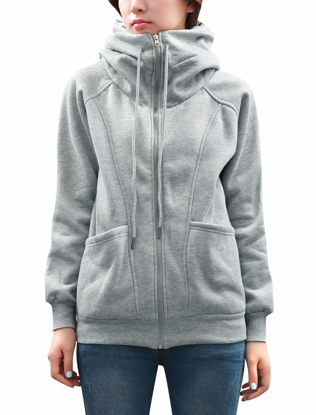 Women Hidden Hood Raglan Sleeve Zip Up Sweatshirt Light Gray M