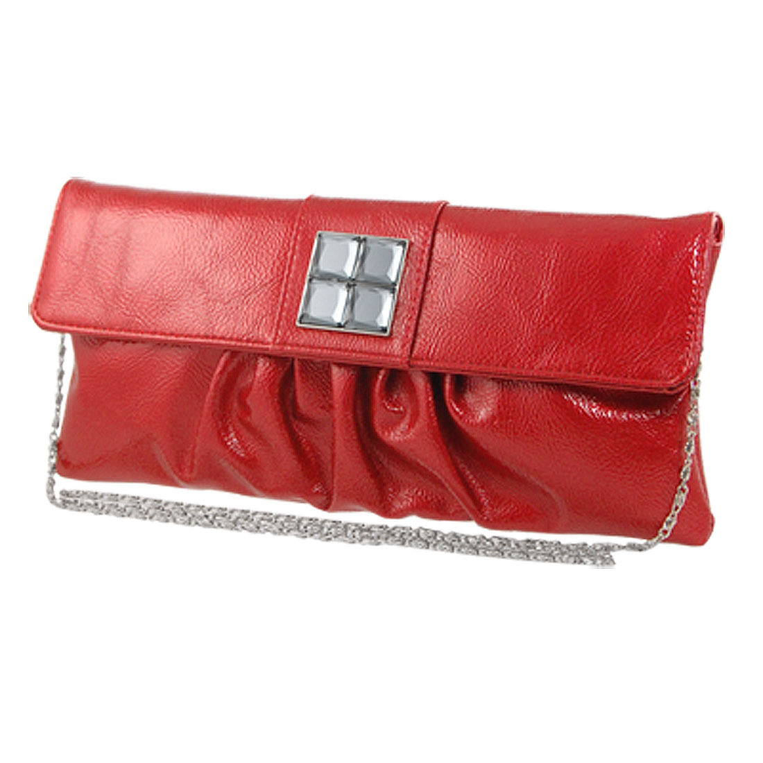 Plastic Crystal Accent Red Faux Leather Evening Handbag for Women
