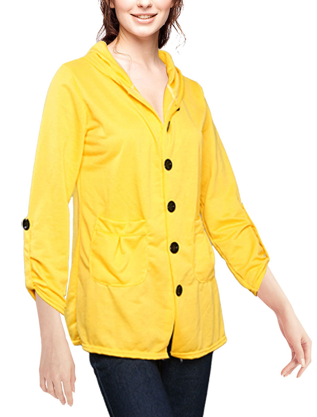 Women Single Breast Yellow Hooded Long Sleeves Autumn Coat XS