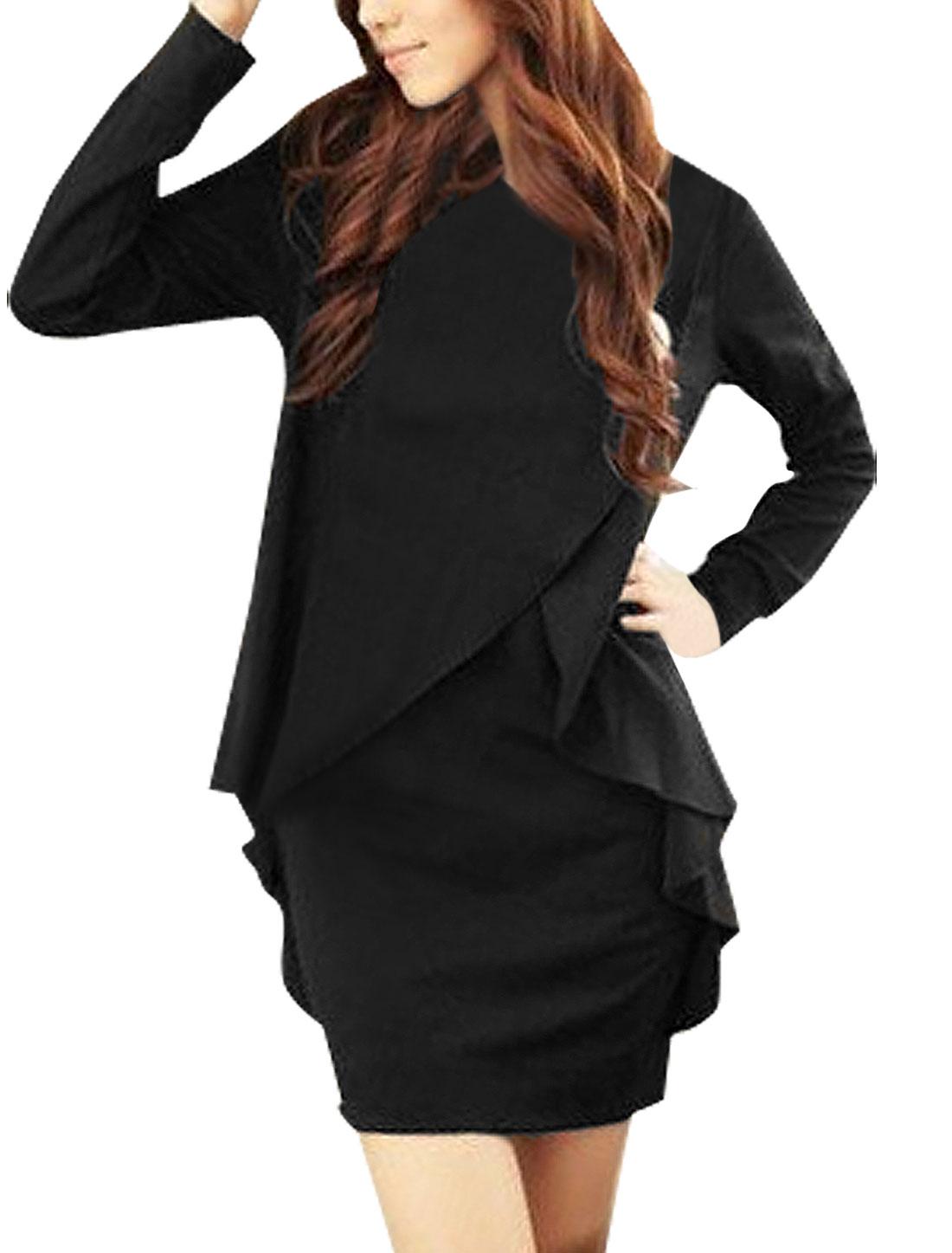 Women Black Long Sleeve Stretchy Autumn Tunic Shirt XS