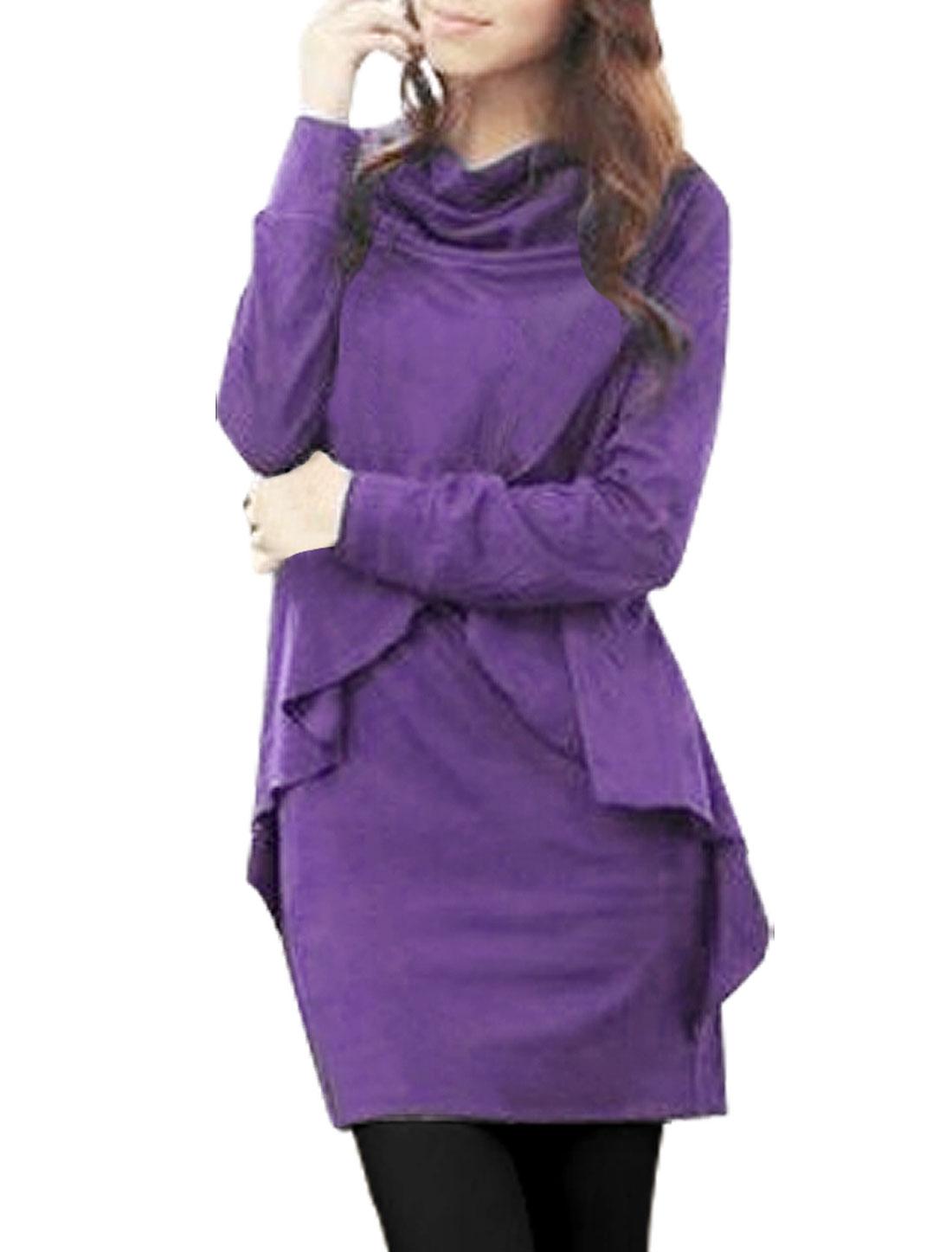 Lady Purple Long Sleeve Front Cross Overlap Tunic Shirt XS