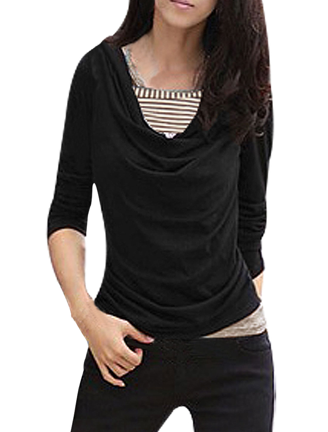 Black Cowl Neck Long Sleeve 2-Fer Style Pull Over Shirt for Woman S
