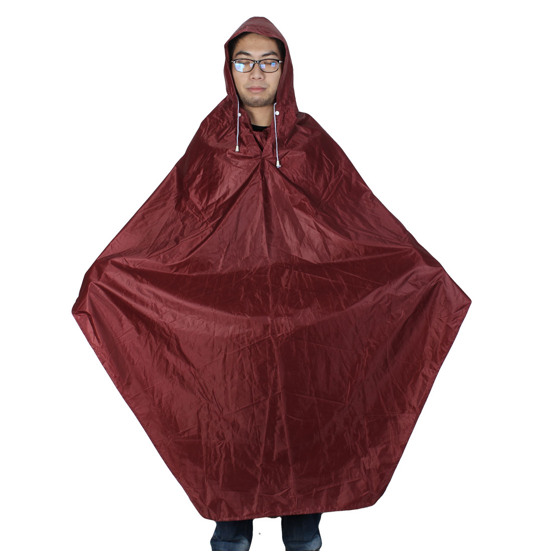 Women Men Dark Red Cycling Bicycle Bike Raincoat Rain Cape
