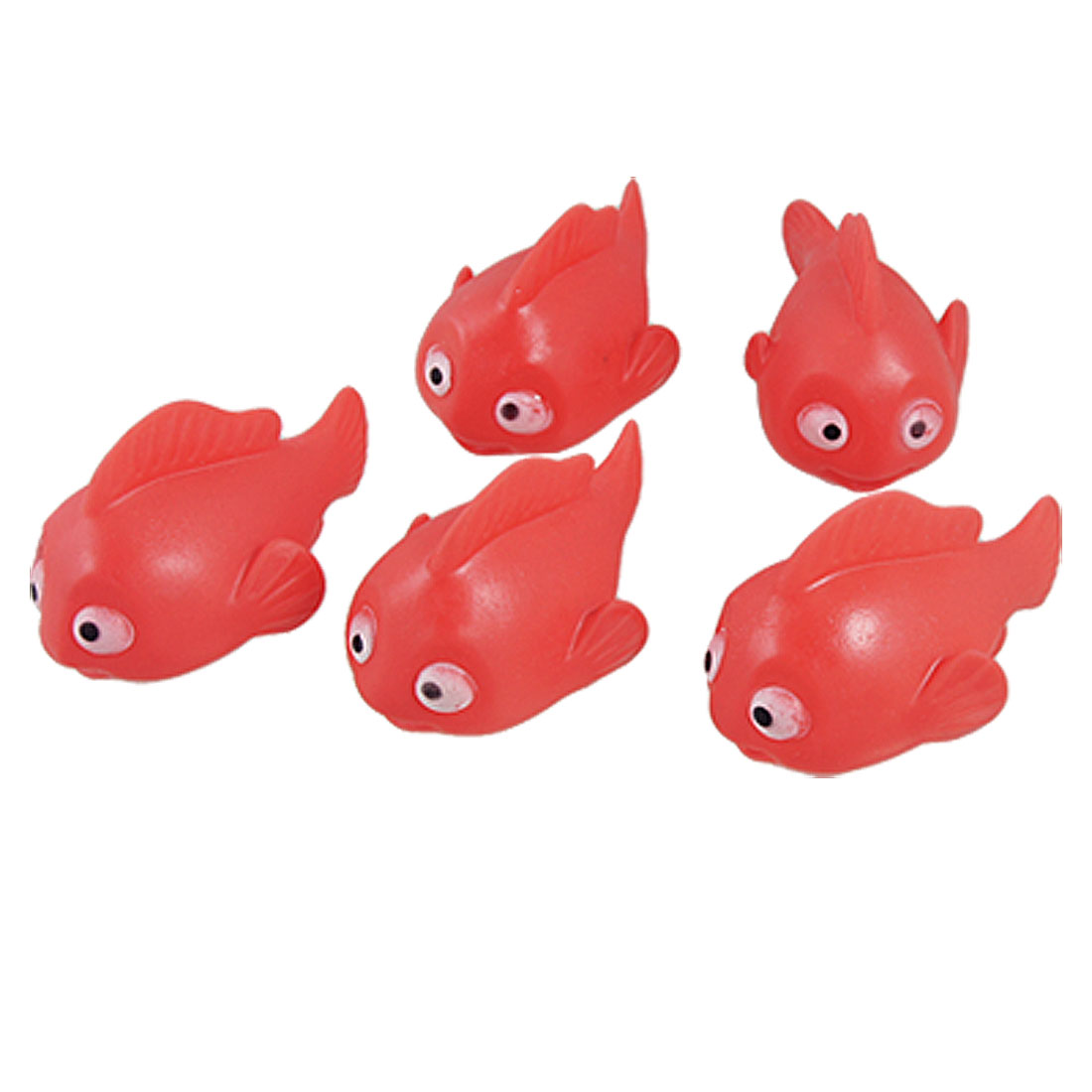 5 Pcs Red Soft Plastic Fish Squeeze Squeak Toy for Children