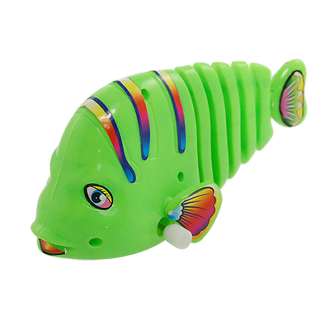Green Plastic Wind-up Swimming Spring Fish Toy for Children