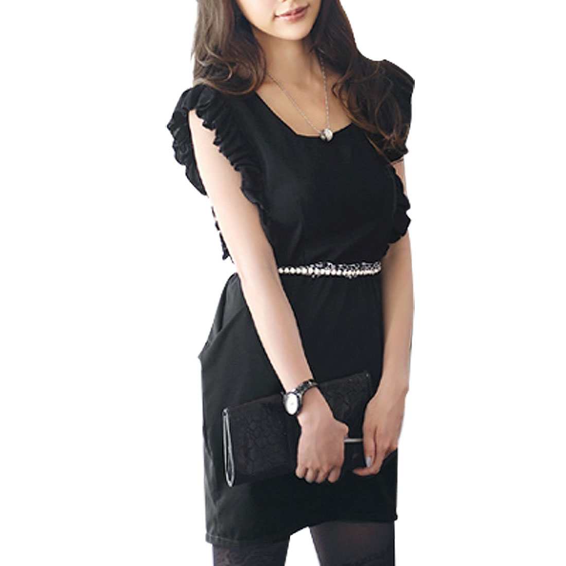Women Sleeveless Square Neck Ruffle Trim Shift Dress Black XS