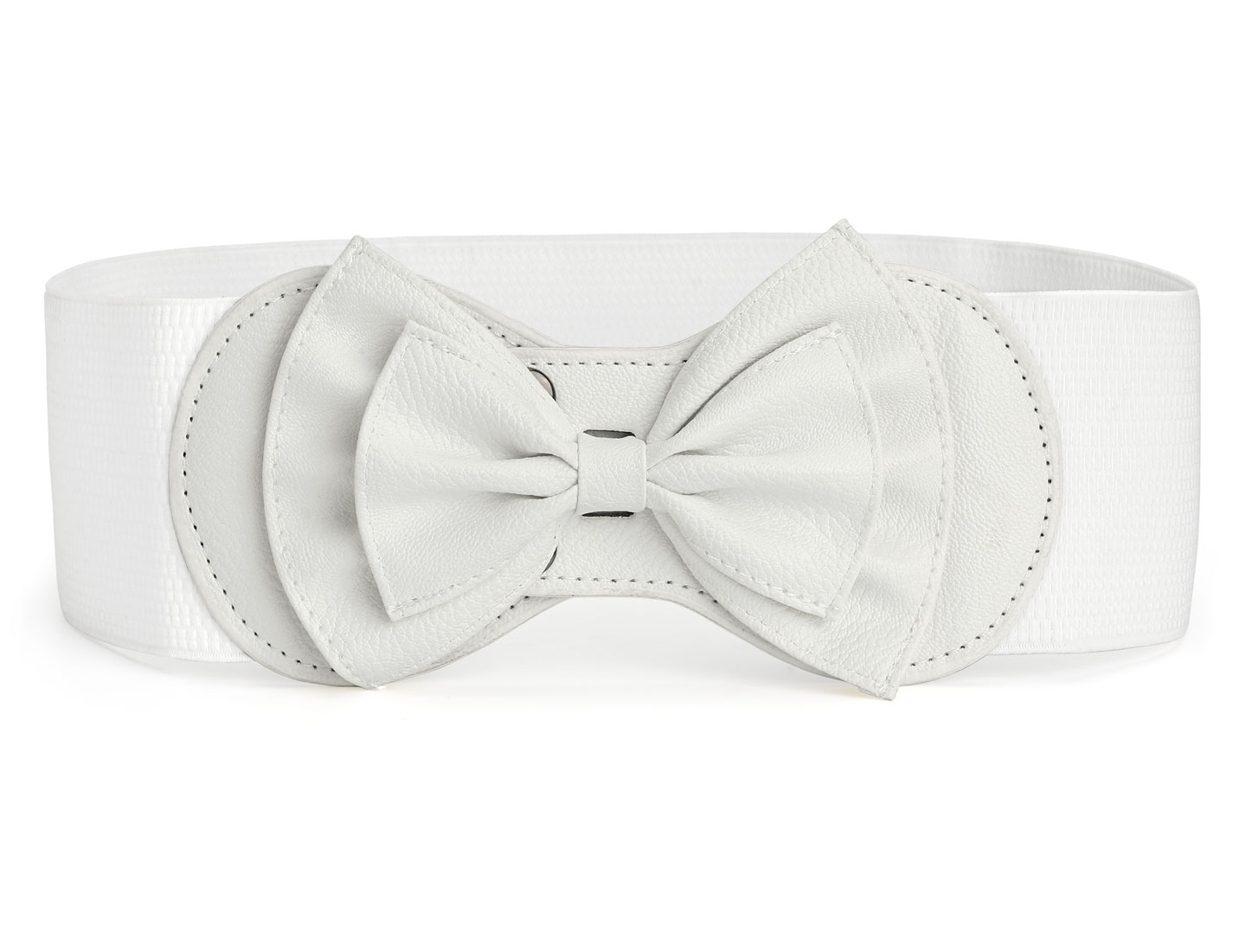 Woman Faux Leather Bowtie Interlock Buckle White Elastic Cinch Belt