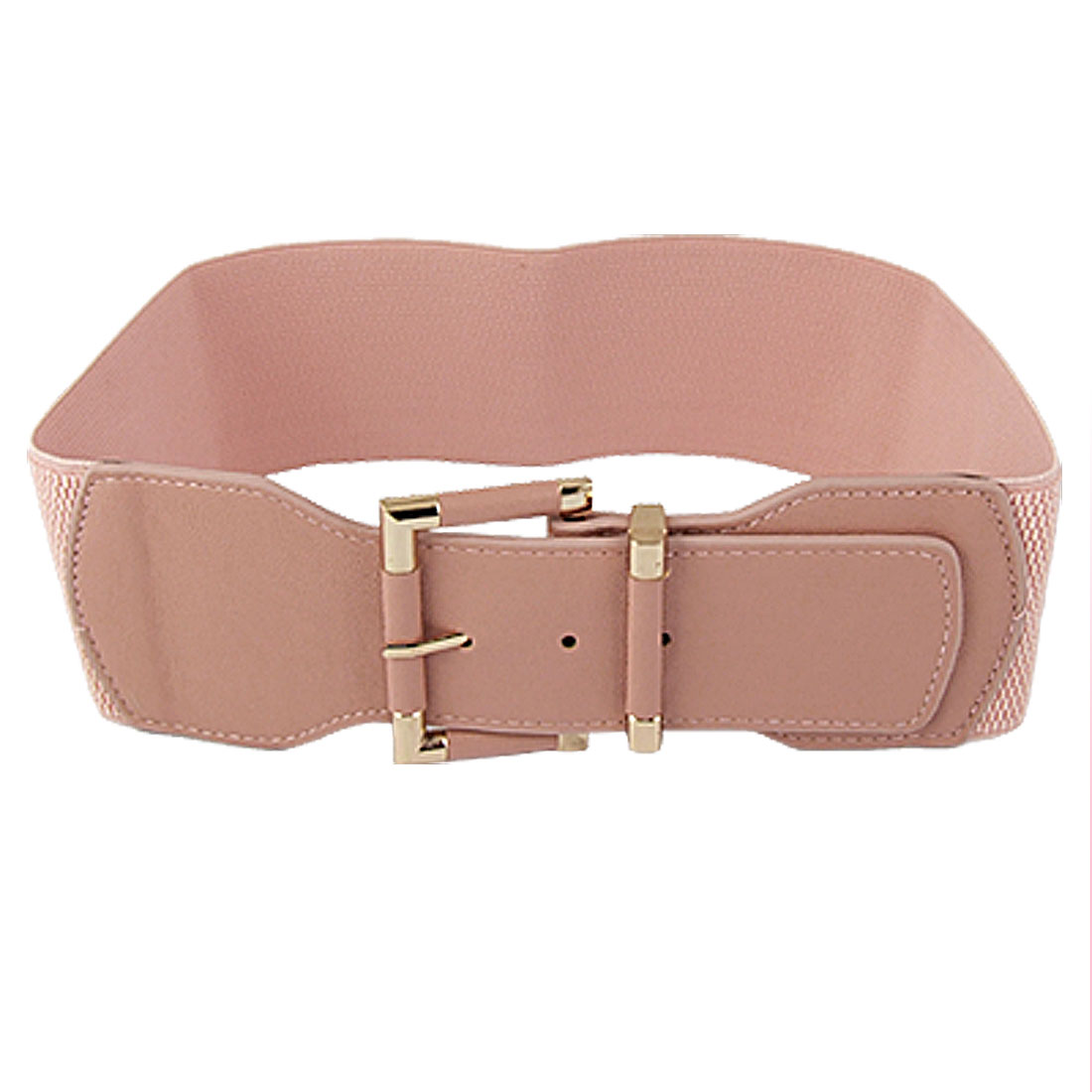 Gold Tone Single Prong Buckle Pink Elastic Waist Belt for Women