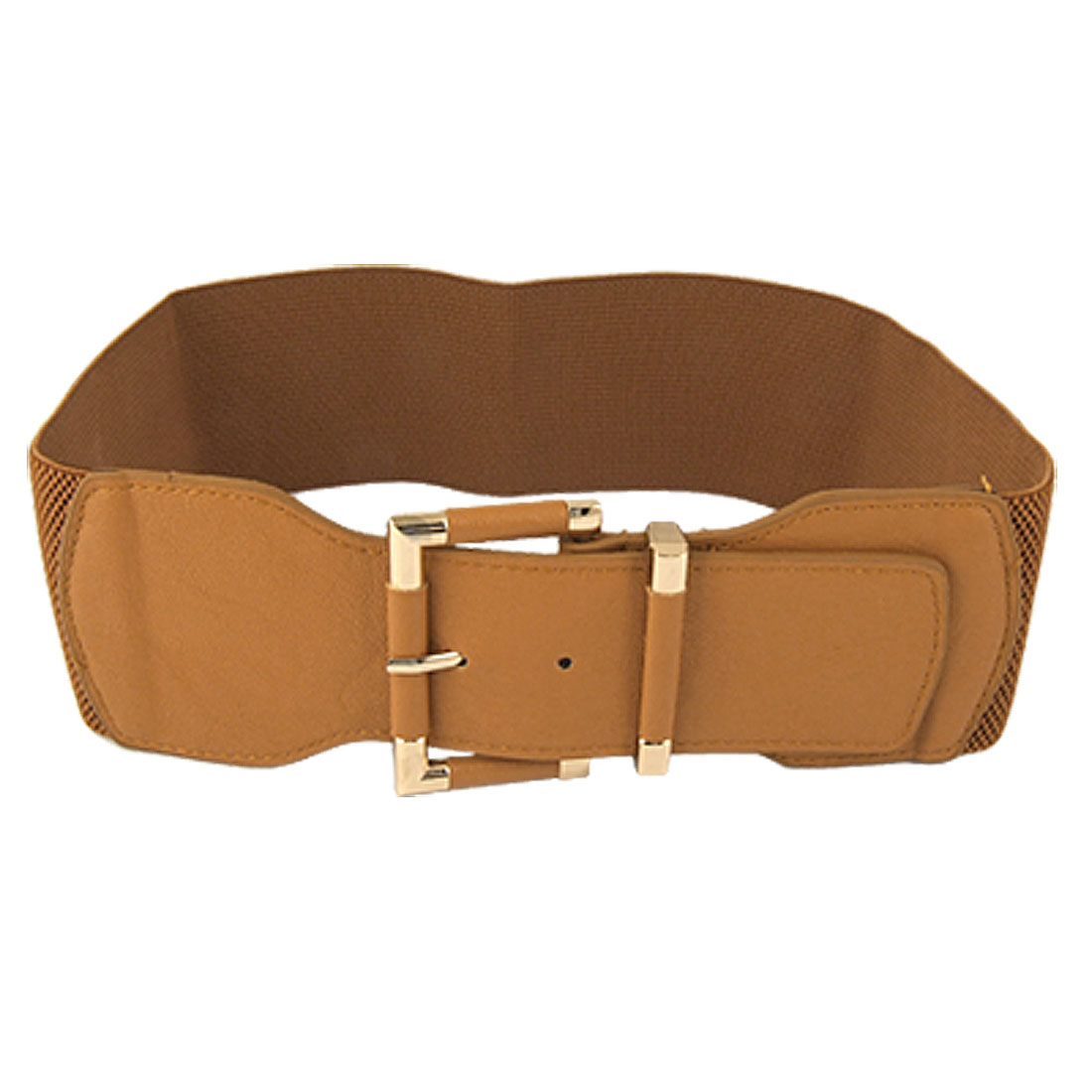 Gold Tone Single Pin Buckle Brown Elastic Cinch Belt for Women