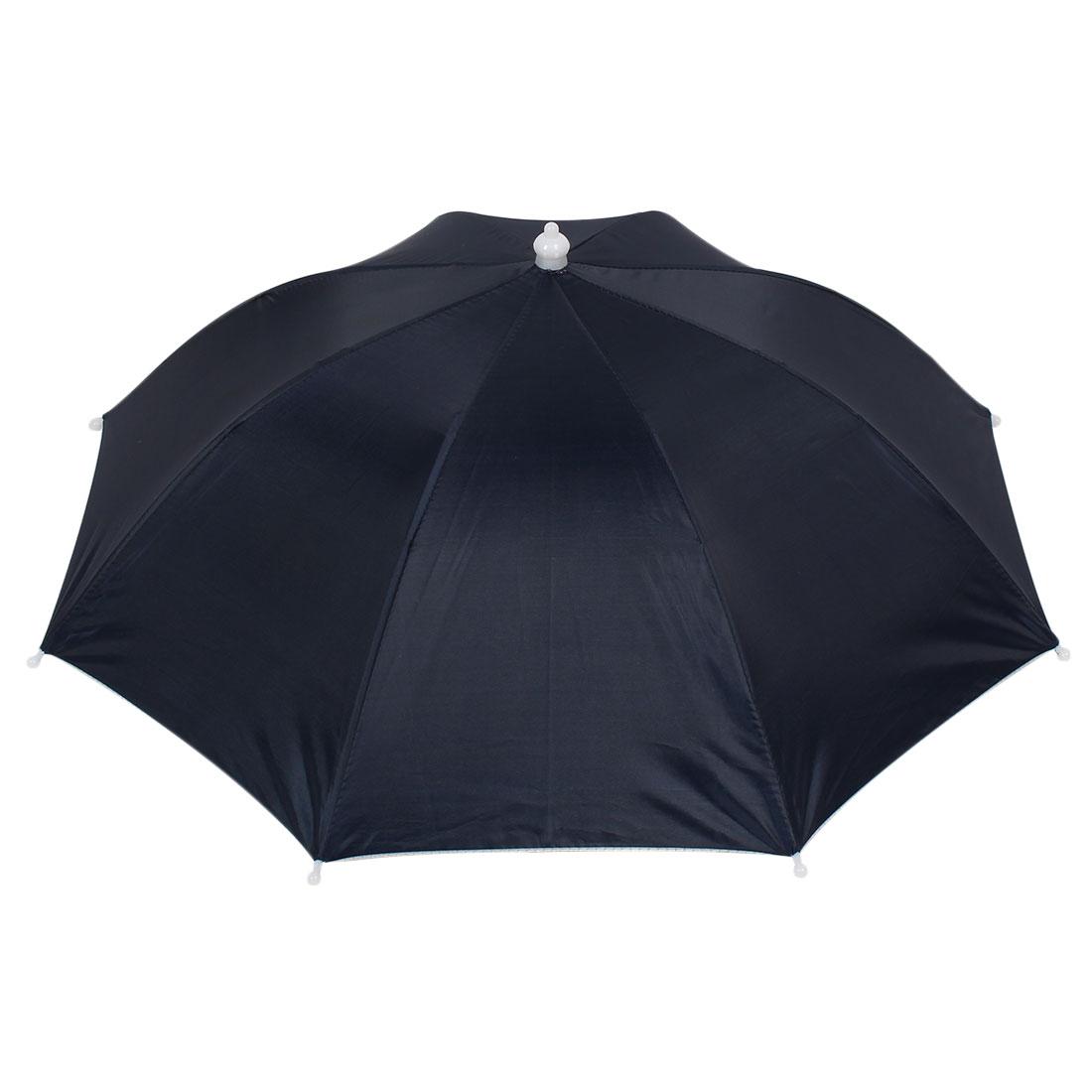 Fishing Dark Blue Canopy 8 Ribs Elastic Head Band Umbrella