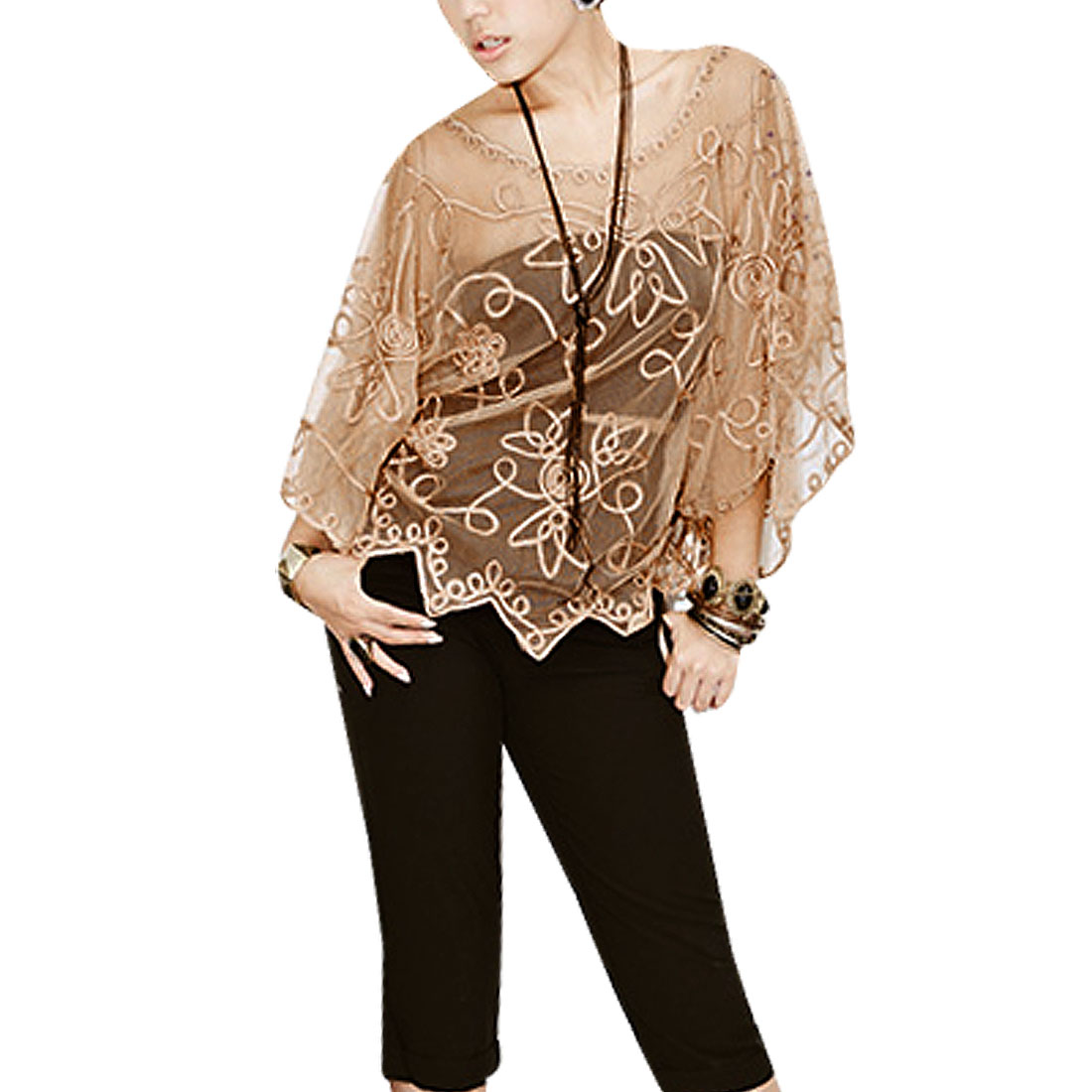 Light Brown Embroidery Design Sheer Shirt S for Women