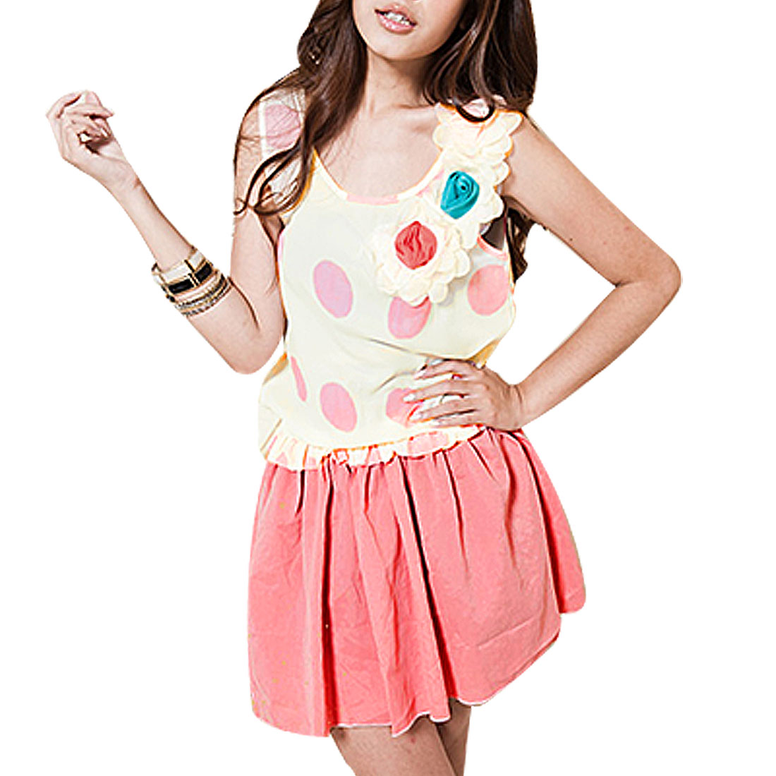 Lady Beige Rose Pink Dotted Rosette One-piece Tank Dress XS