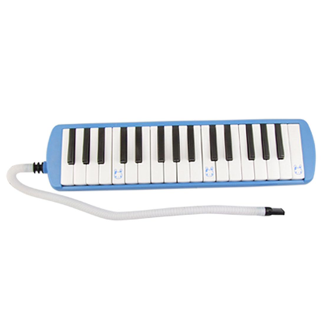 White Black Plastic 32 Key Piano Keyborad Melodica Blue w Mouthpiece