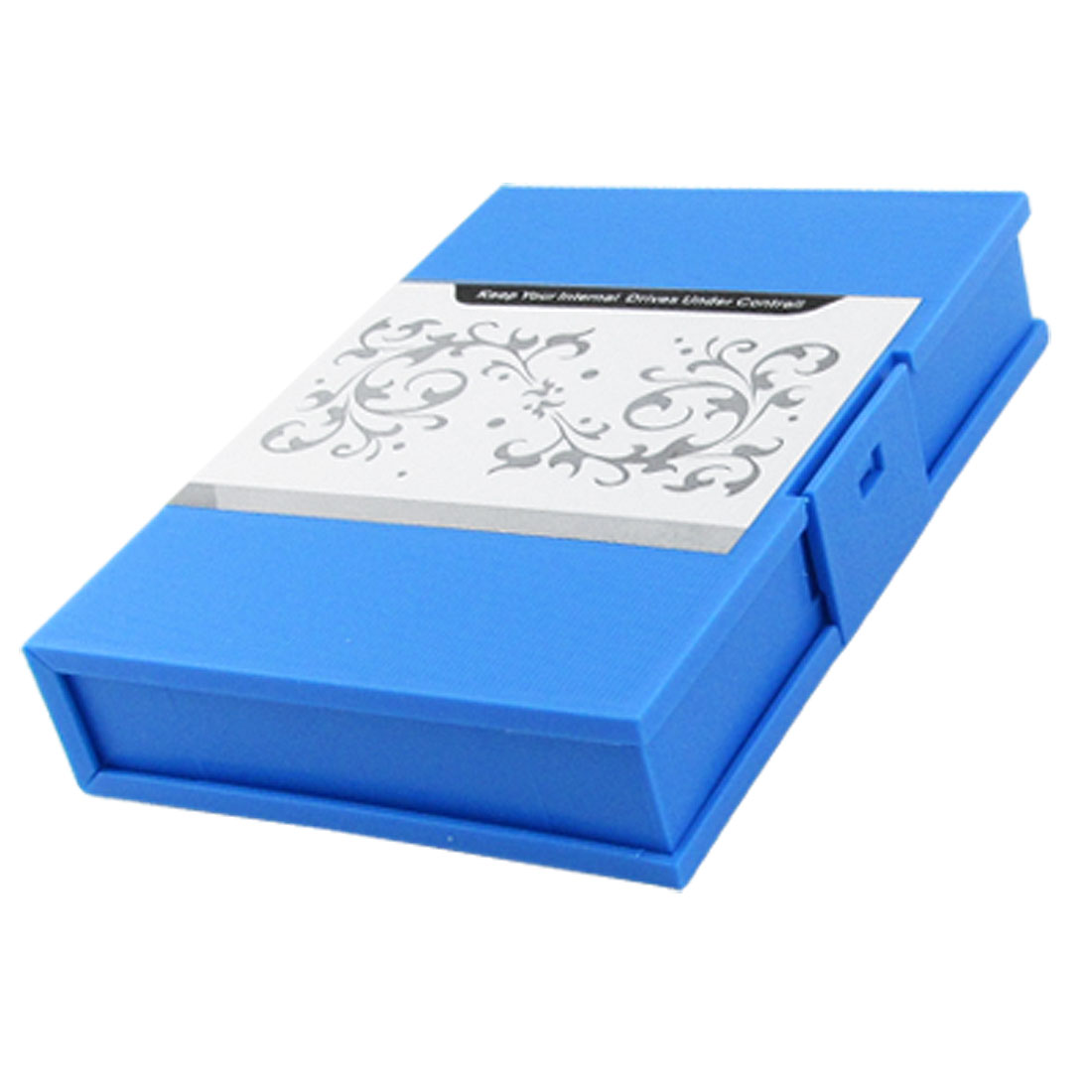 "3.5"" HDD Blue Plastic Holder Flower Print Rectangle Box"