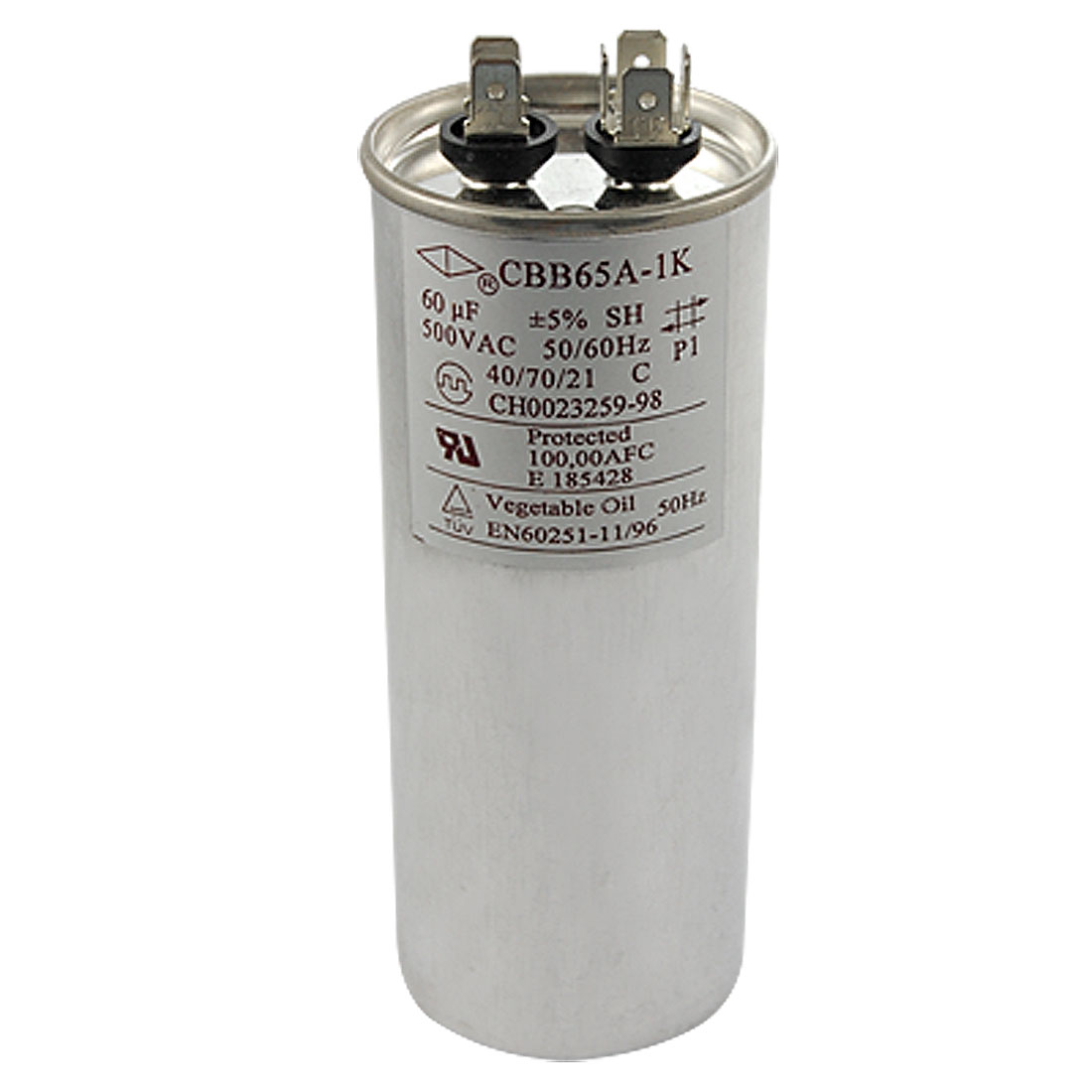 50/60Hz 500V 60uf Round Motor Capacitor CBB65A-1K