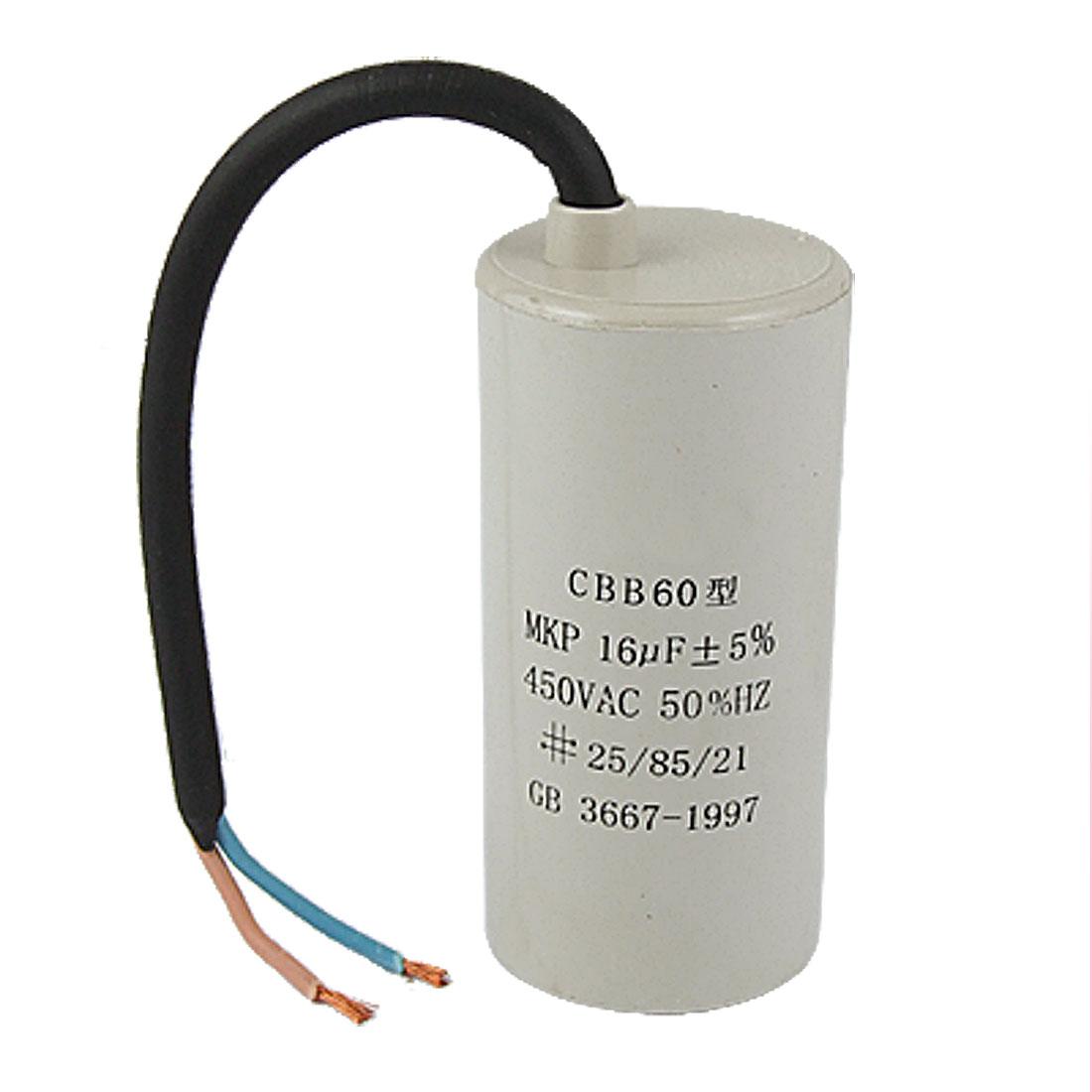 AC 450V 16UF Washing Machine Polypropylene Film Motor Capacitor