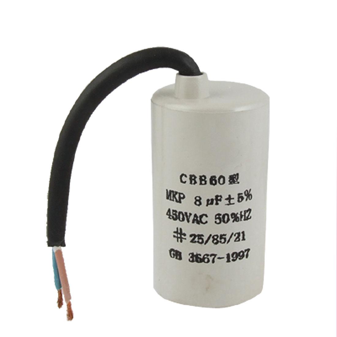 CBB60 Round Motor Run Capacitor 8uF MFD 450VAC 50HZ
