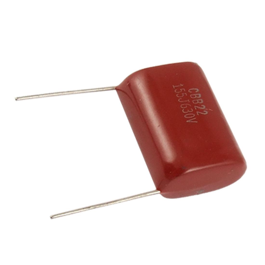 10 Pcs 630V 1.5uF 5% Radial Lead Metallized Film Capacitors CBB22