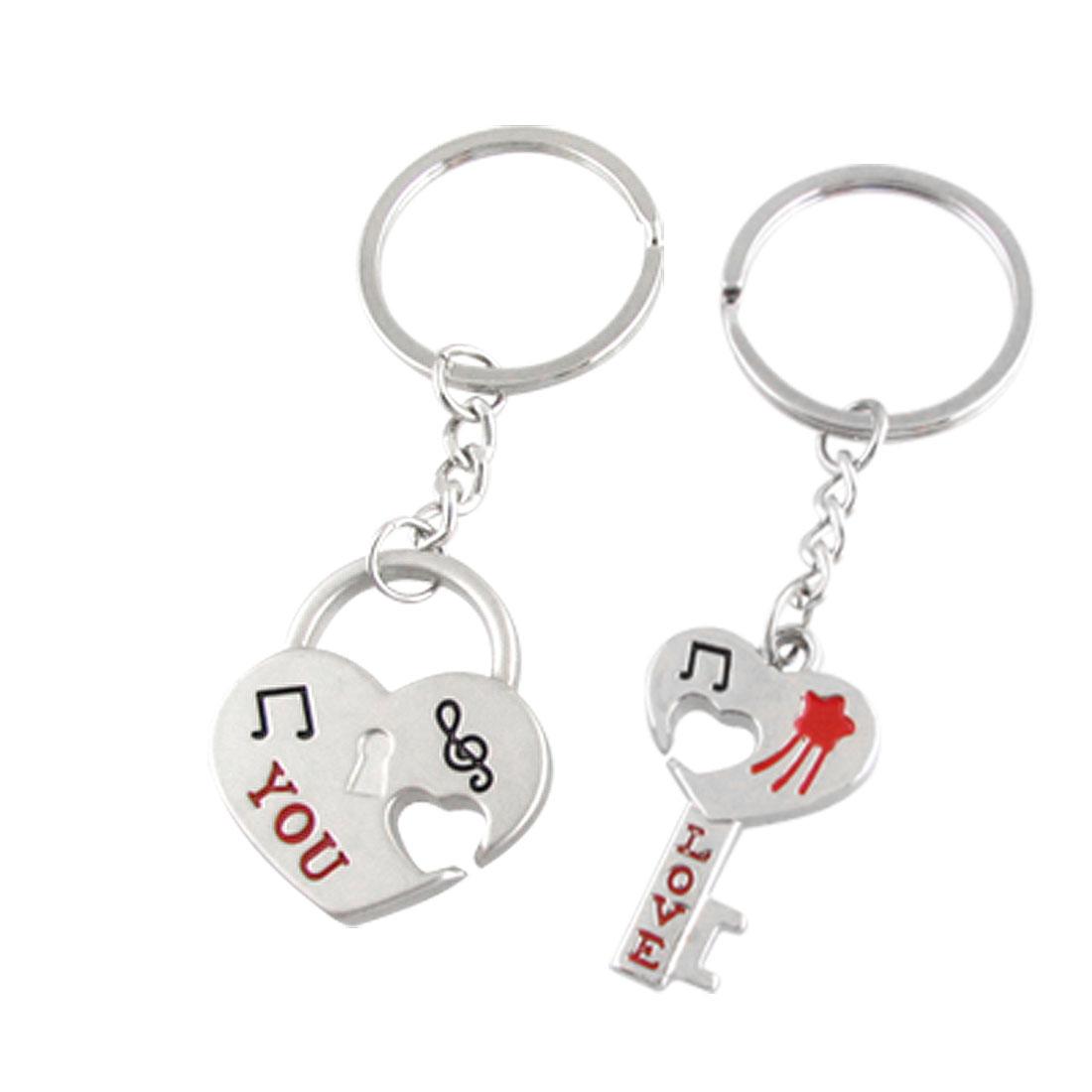 Love You Heart Shape Key Lock Dangling Keychain 2 Pcs